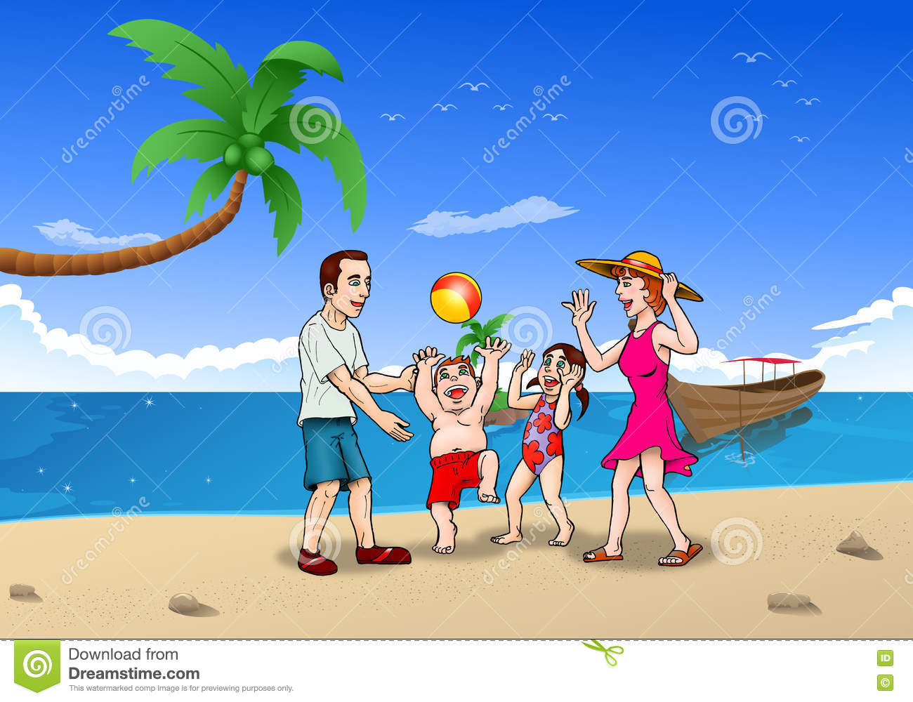 Family Summer Vacation On The Beach Stock Illustration