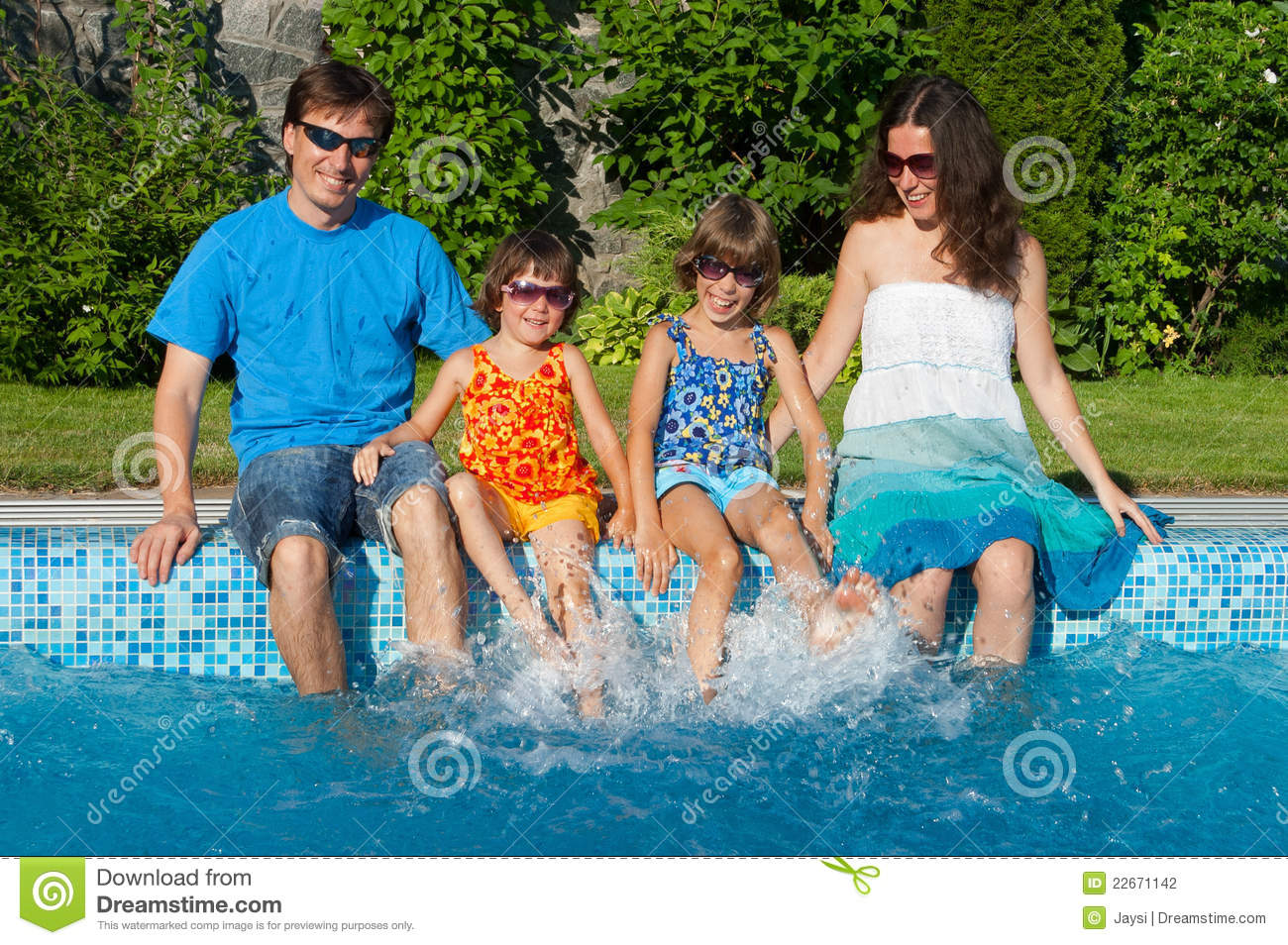 Family summer vacation near swimming pool stock photo for Family swimming pool