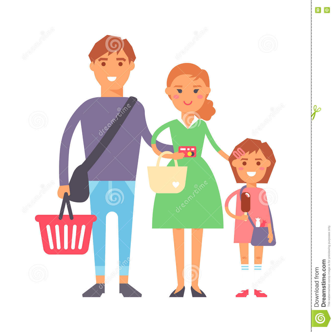 3 Cartoon Characters Always Together : Cartoon family shopping supermarket pictures to pin on