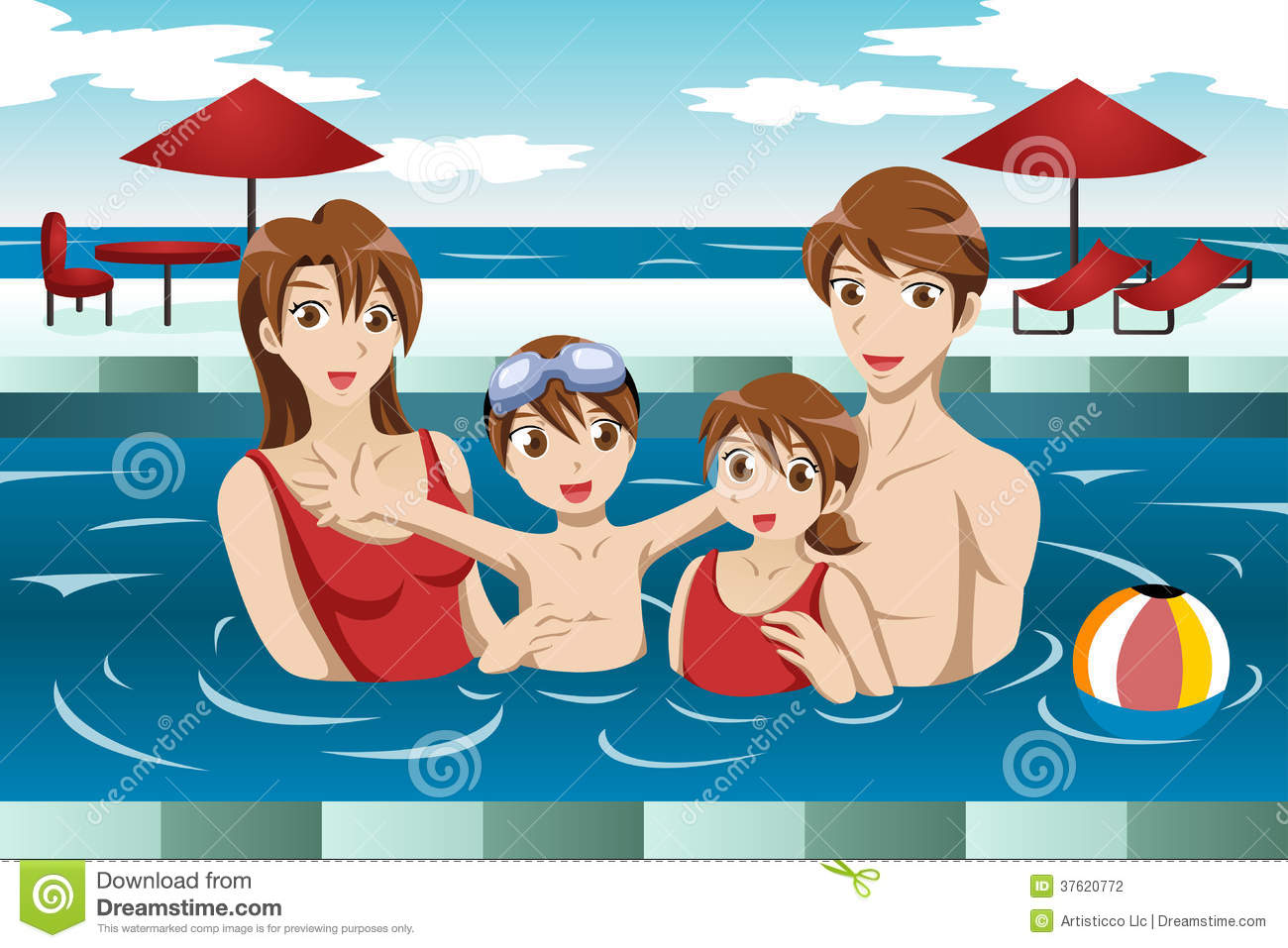 Family In A Swimming Pool Stock Photography Image 37620772