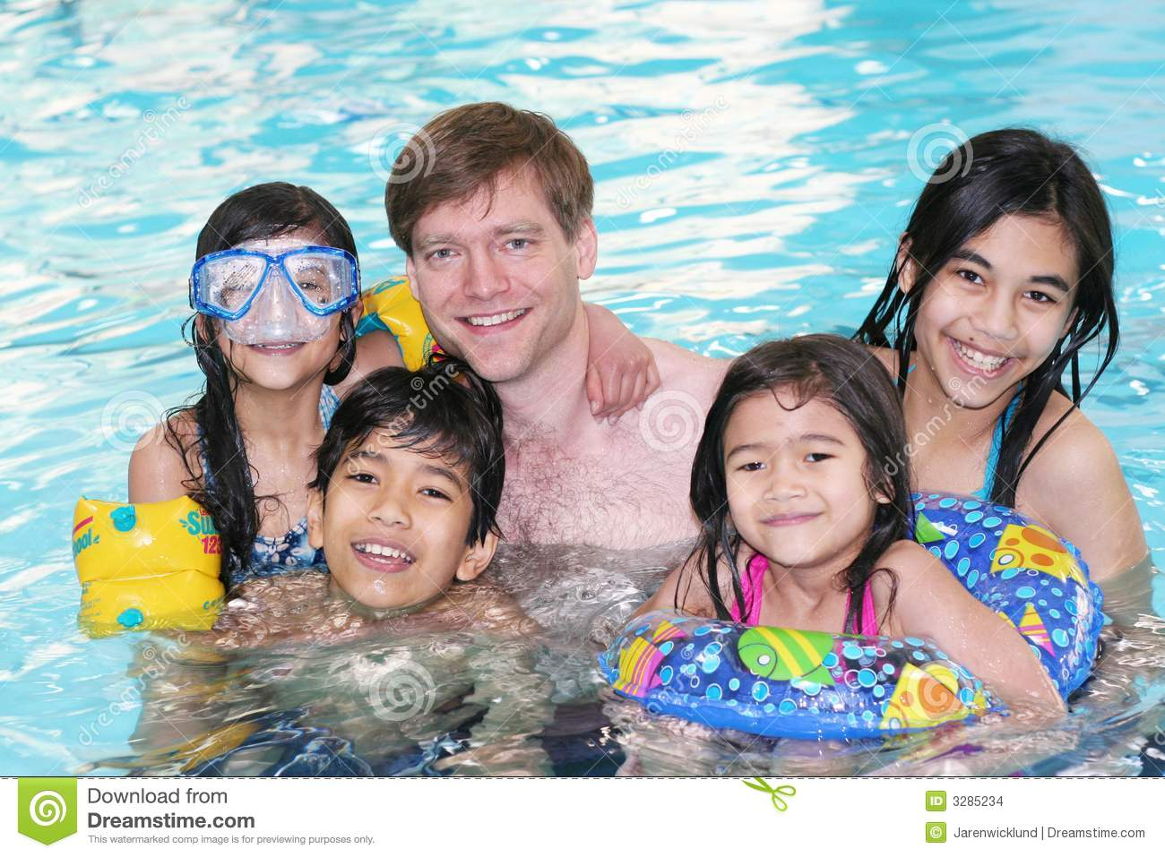 Family swimming together stock images image 3285234 for Family swimming pool
