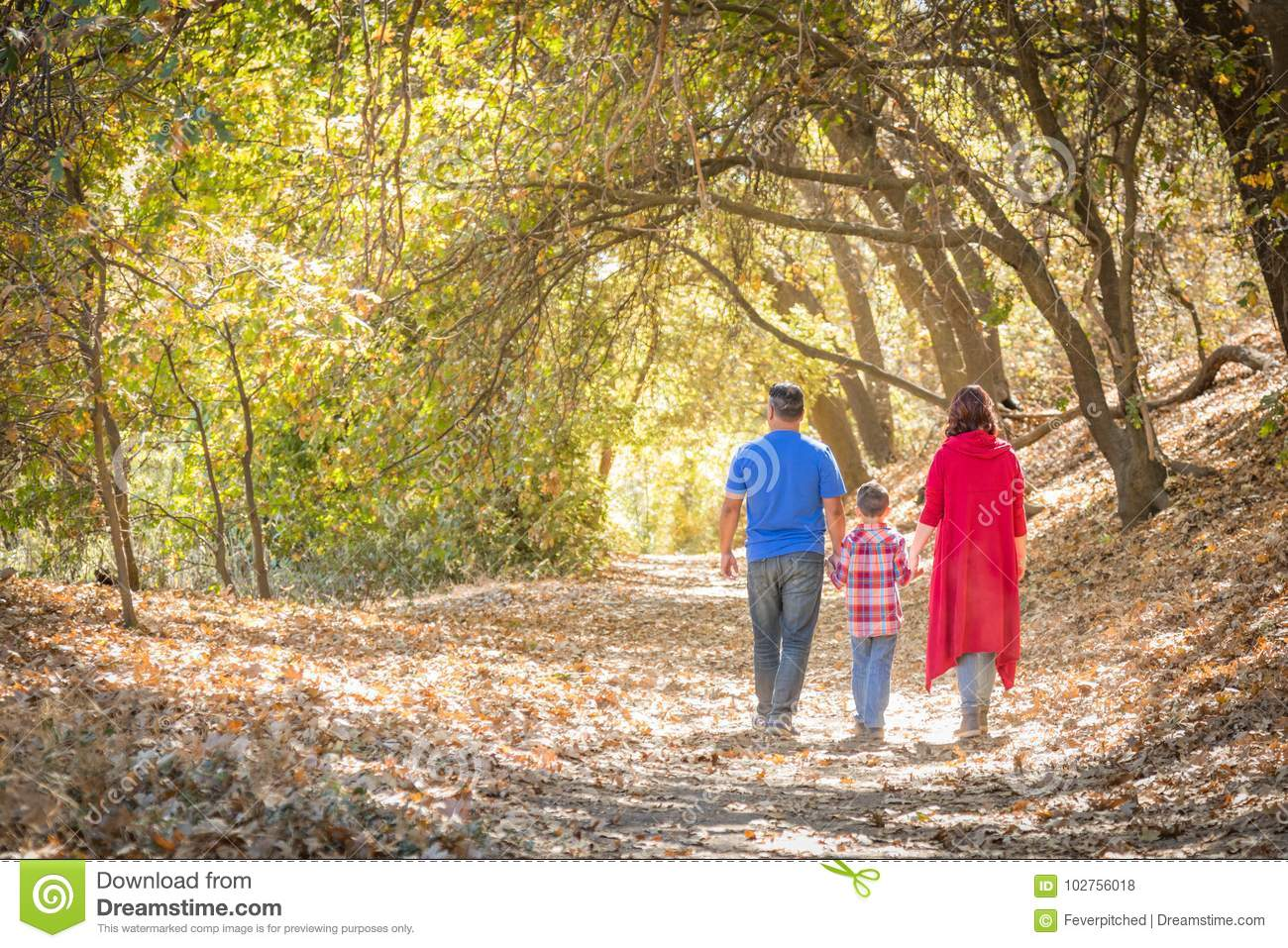 Family Taking a Walk At The Woods
