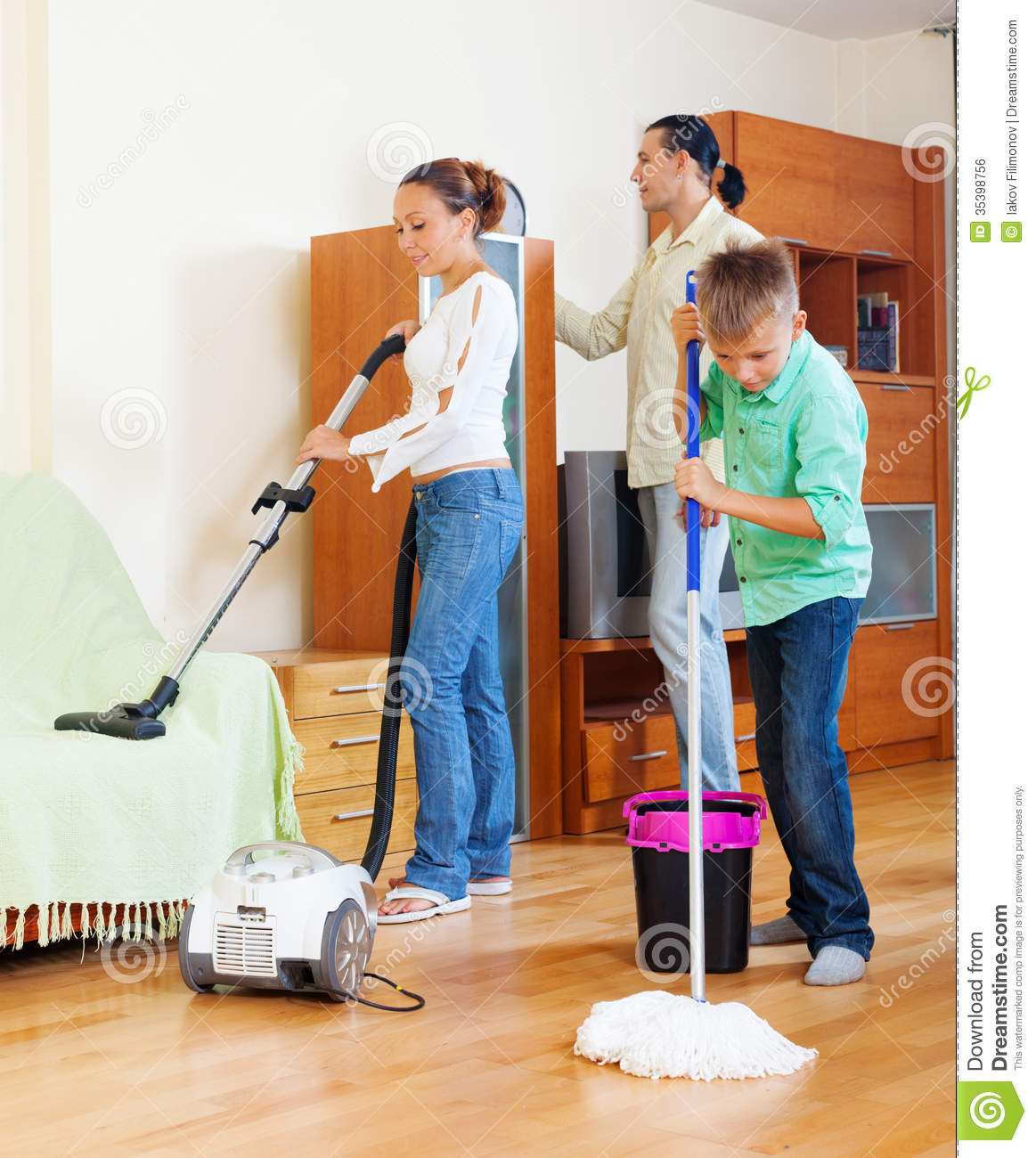 Boy And Girl Cleaning Living Room Cartoon Vector