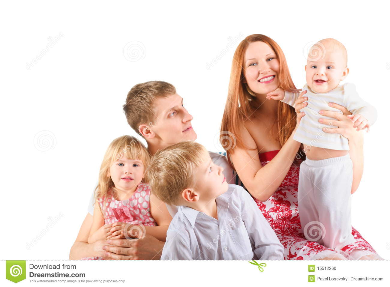 Family With Three Children Is Sitting On A Chair. Stock ...