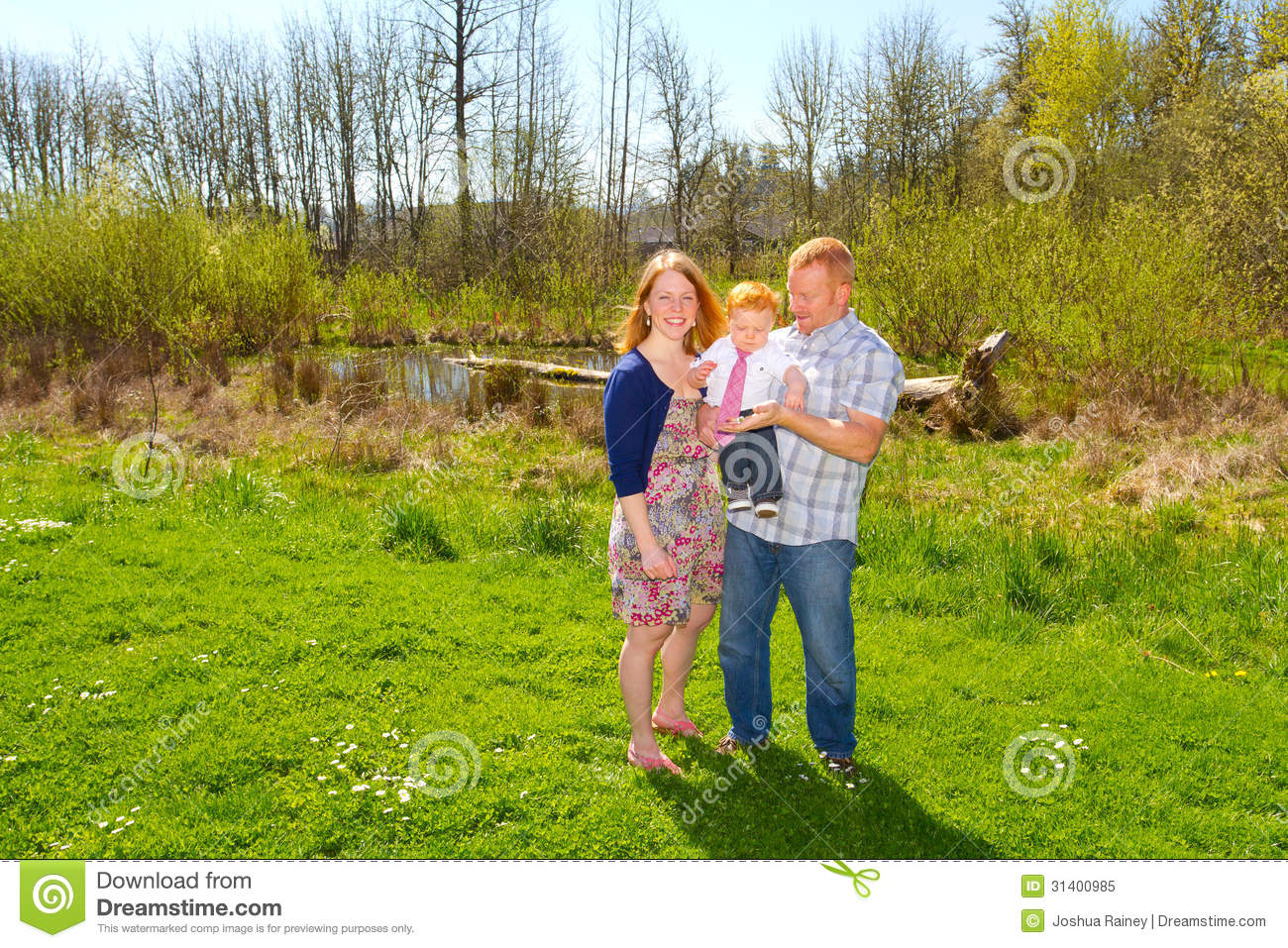 Family Of Three At Park Stock Image Image Of People