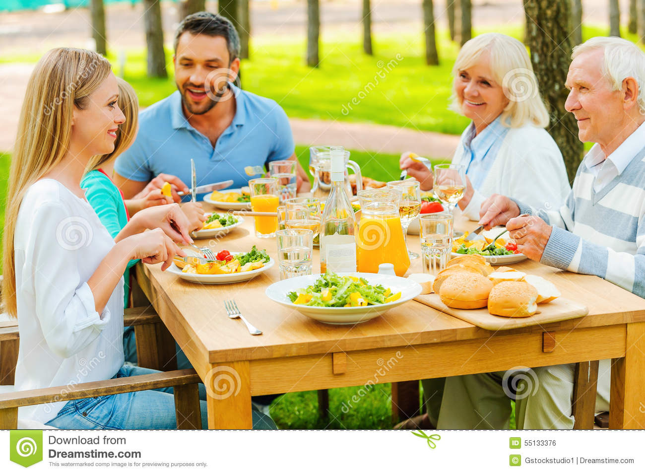 Family time stock photo image of drink girls child for Meal outdoors