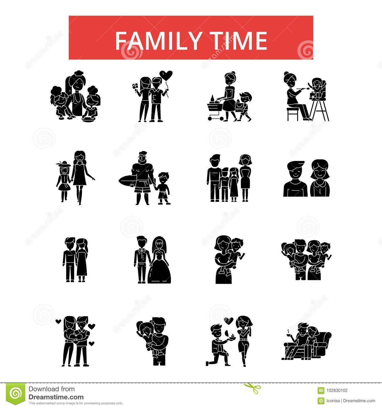 Family time illustration, thin line icons, linear flat signs, vector symbols