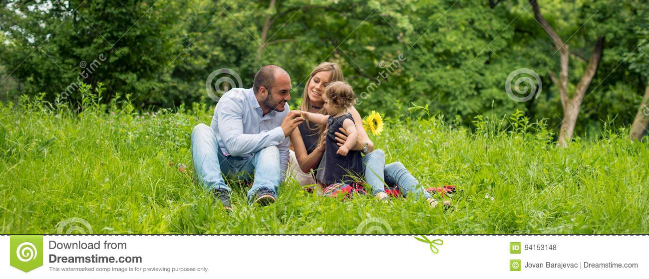 Family time in nature, panorama