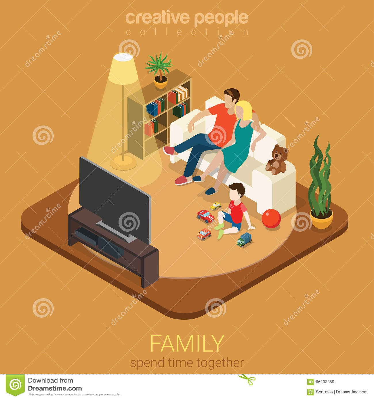 Family Time Parenting Flat 3D Isometric Living Room Watching Tv Illustration 66193359