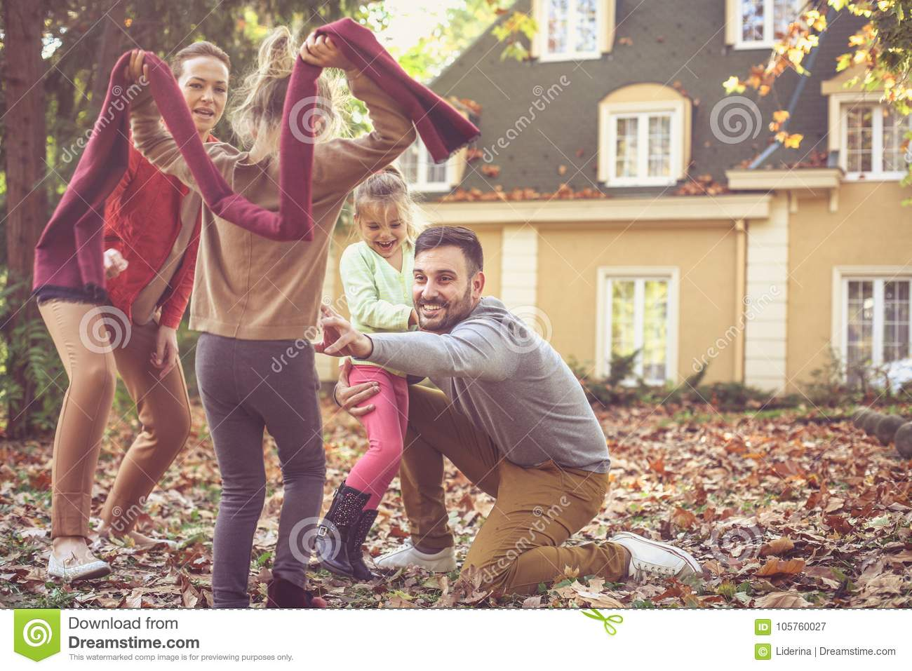 Family time, parents have play with children.