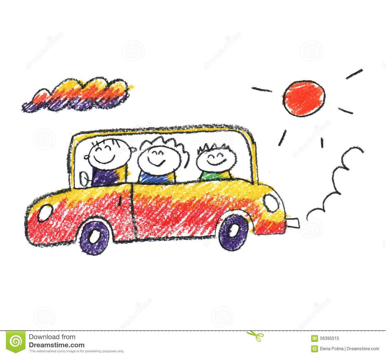 Family Traveling In Car Stock Illustration Illustration Of Girl