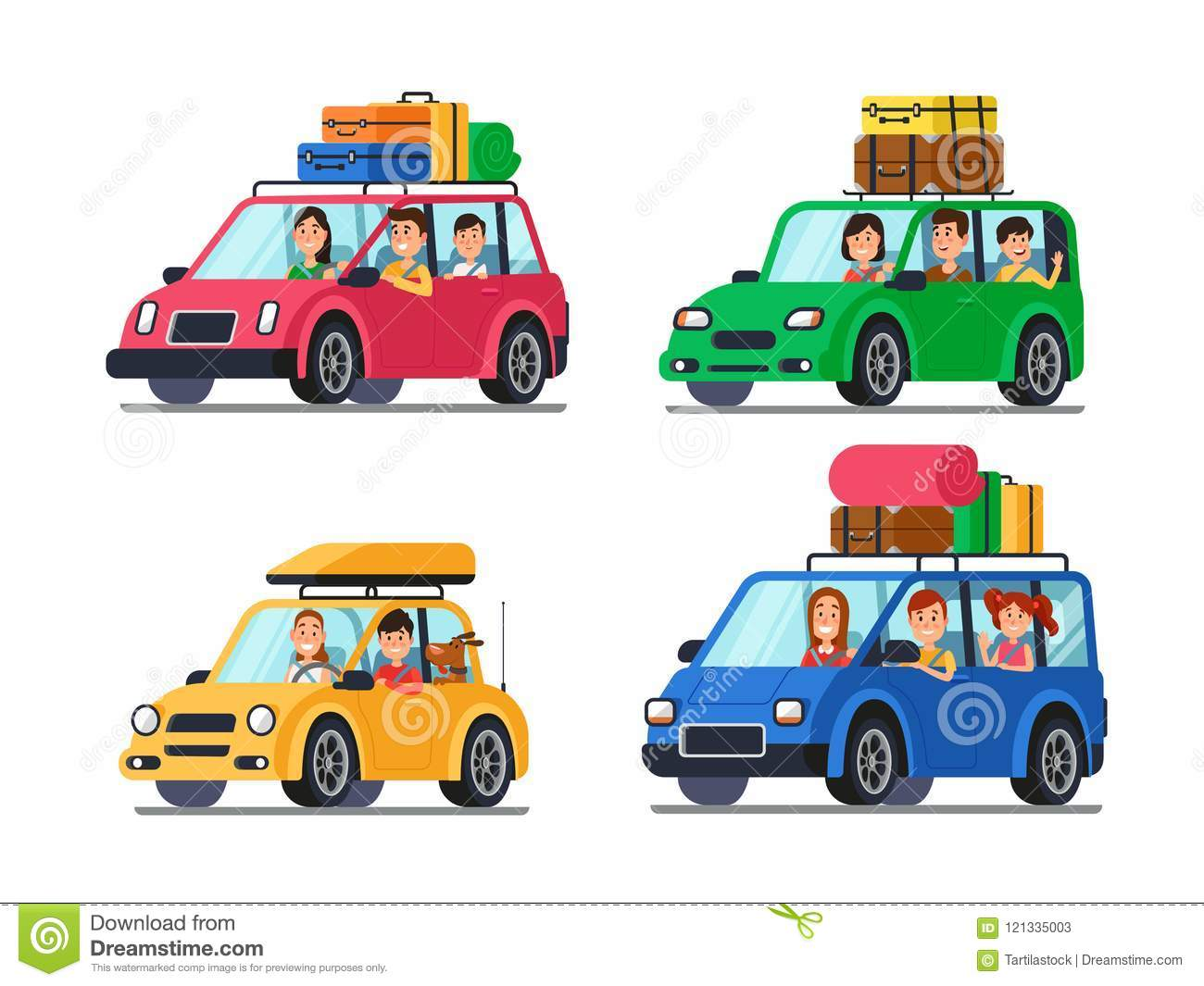Family traveling cars. Happy people travel in car. Vacation trip with mother and father in minivan cartoon vector
