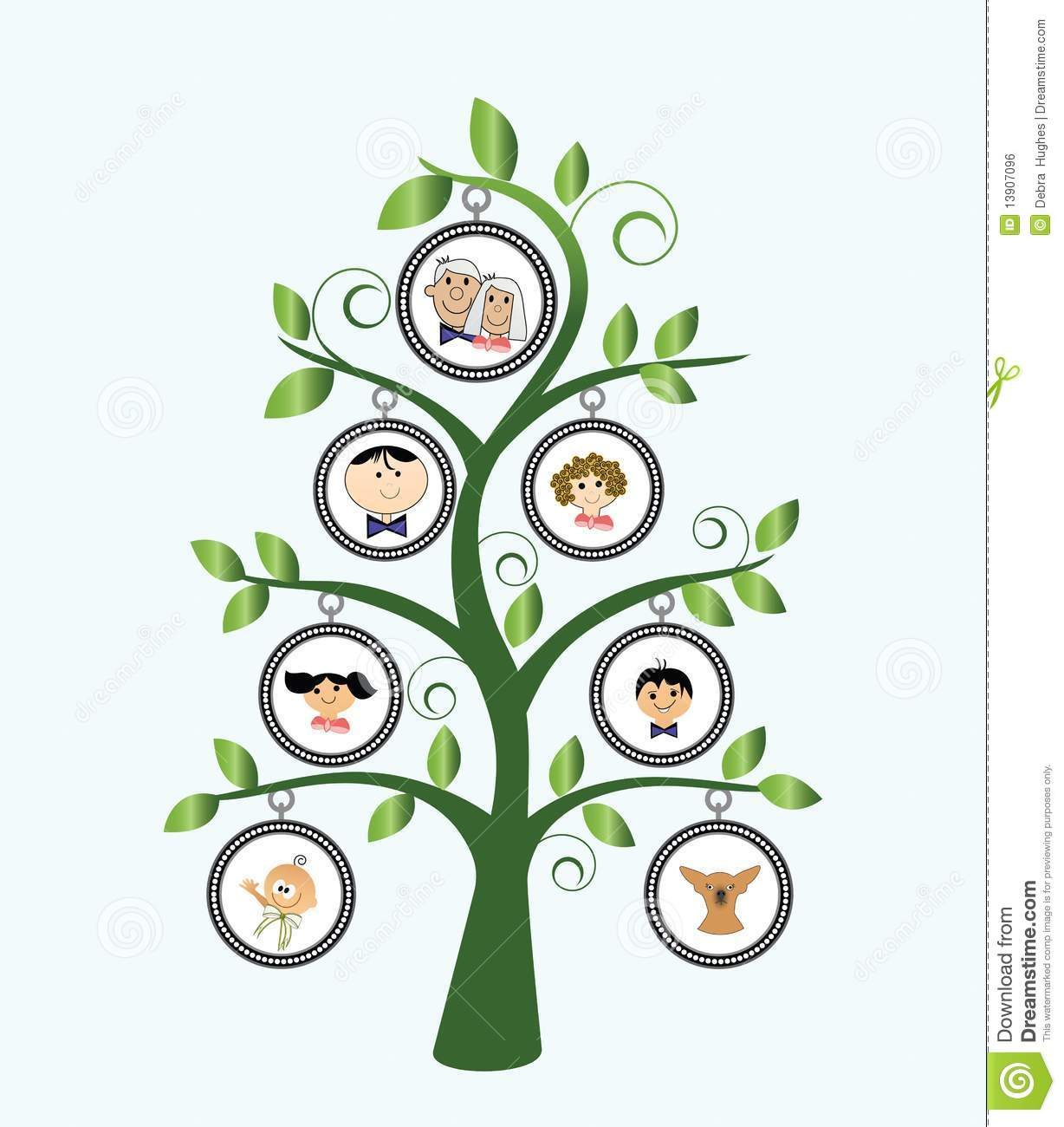 Family Tree stylized with cartoon family and leaves.
