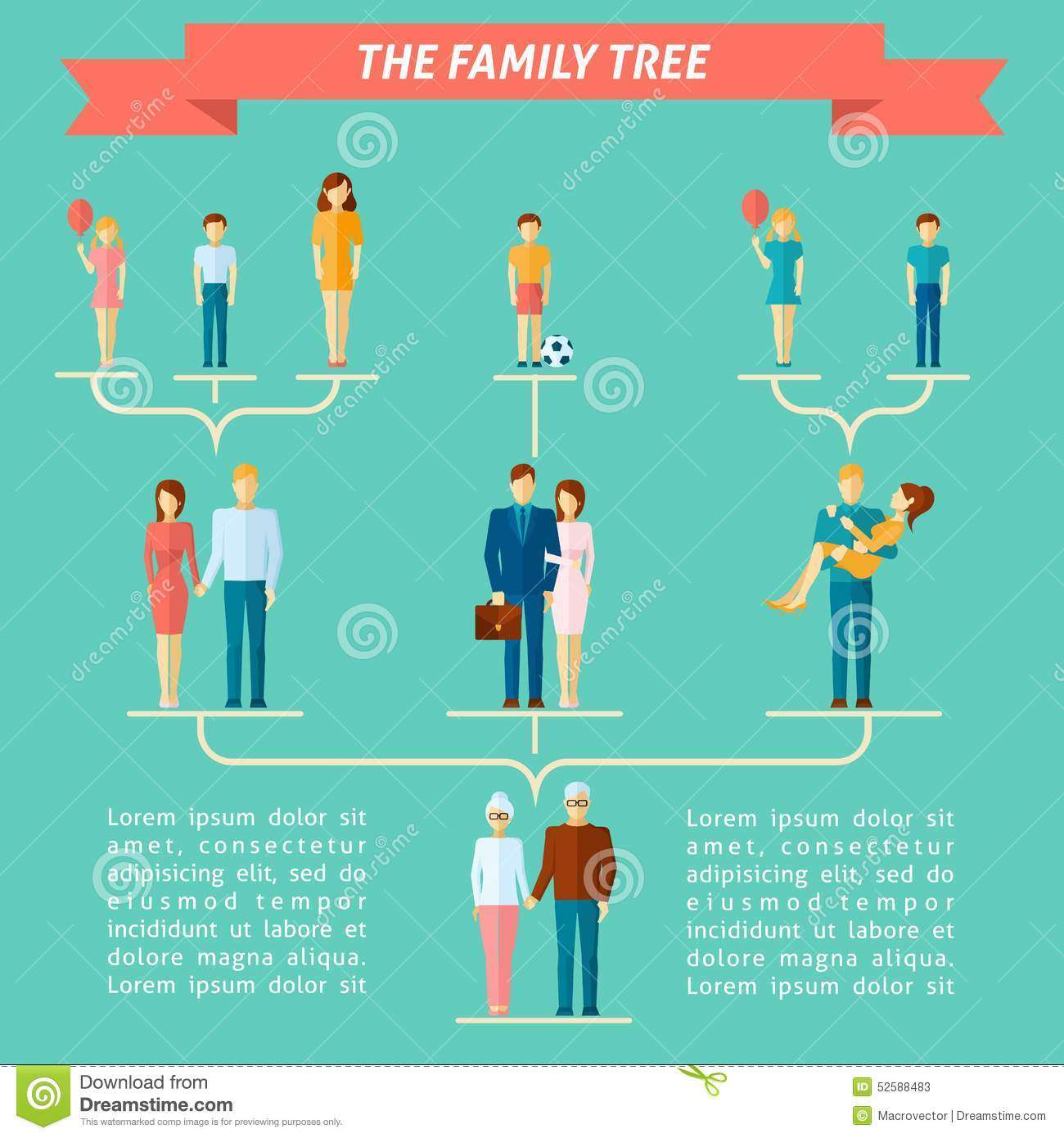 family tree concept cartoon vector cartoondealer com 52588483