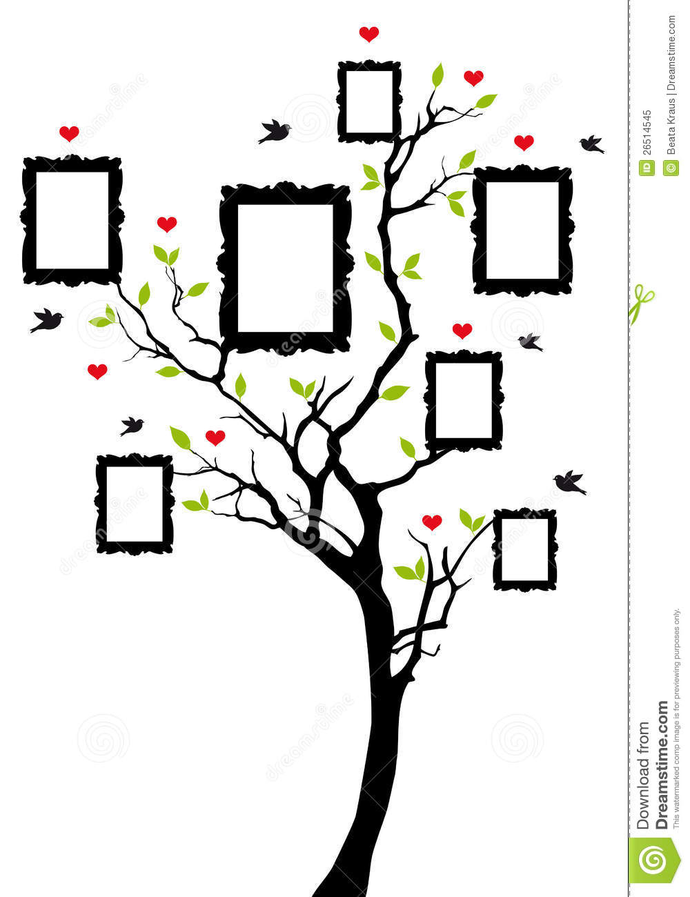 Family tree with picture frames, vector background illustration.