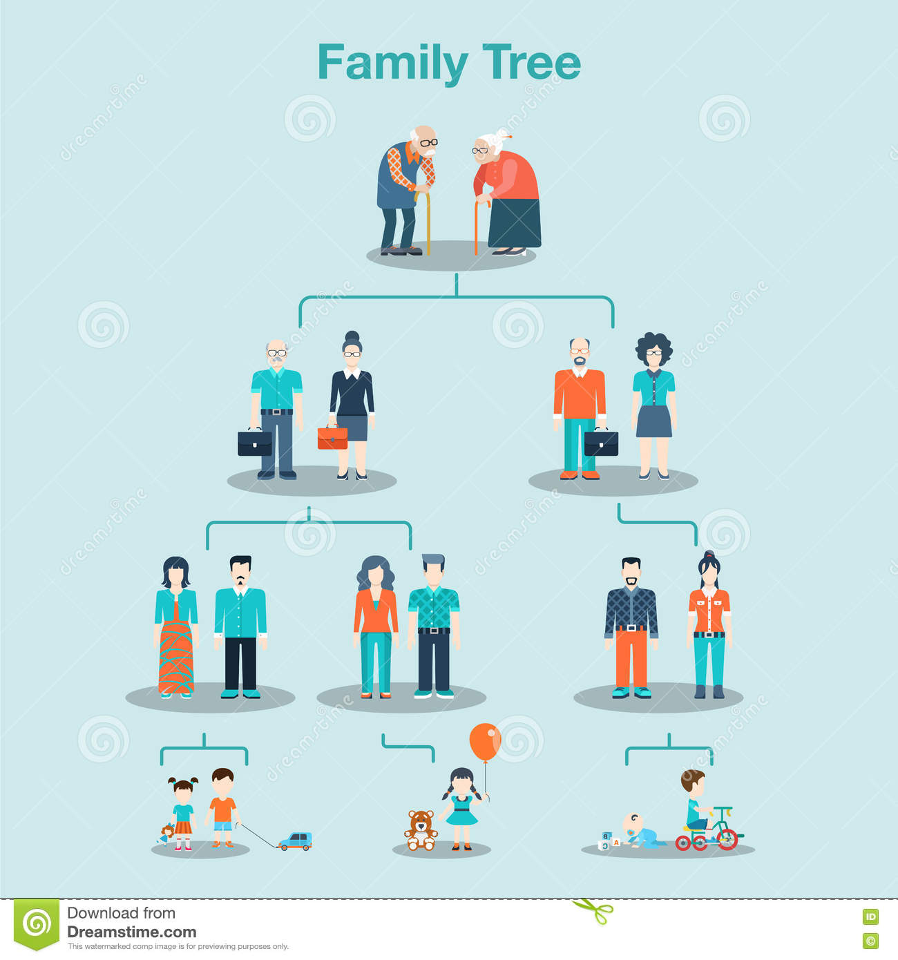 Family Tree Genealogy Concept Vector Illustration. Stock Vector ...