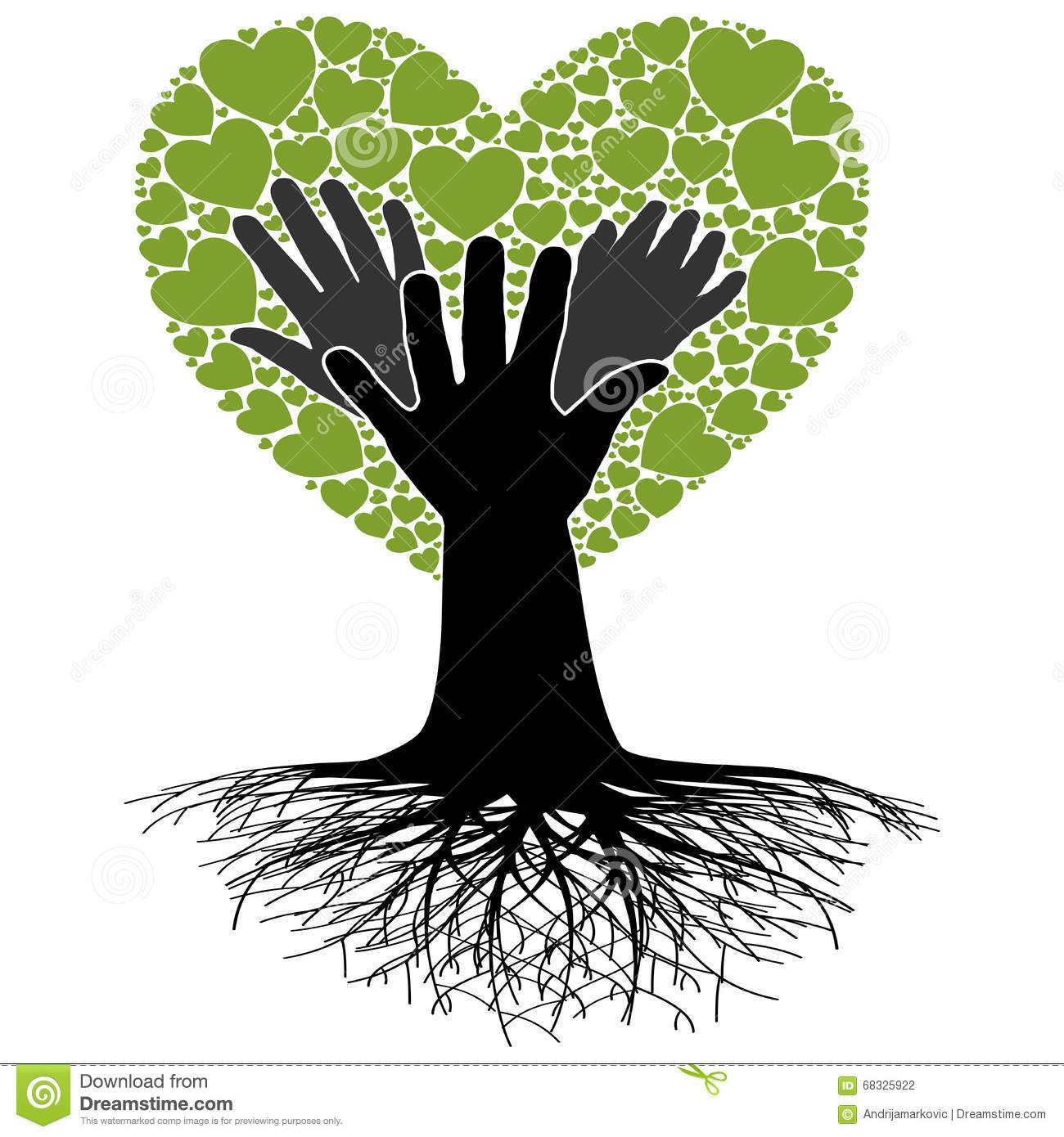Family Tree Hand Stock Vector Image 68325922
