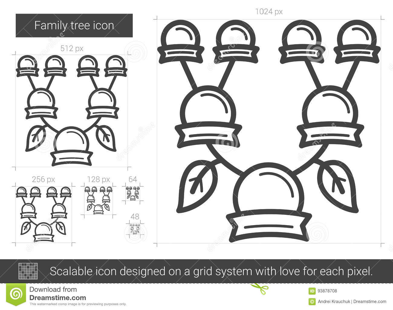 Family Tree Line Icon. Stock Vector. Image Of Drawing