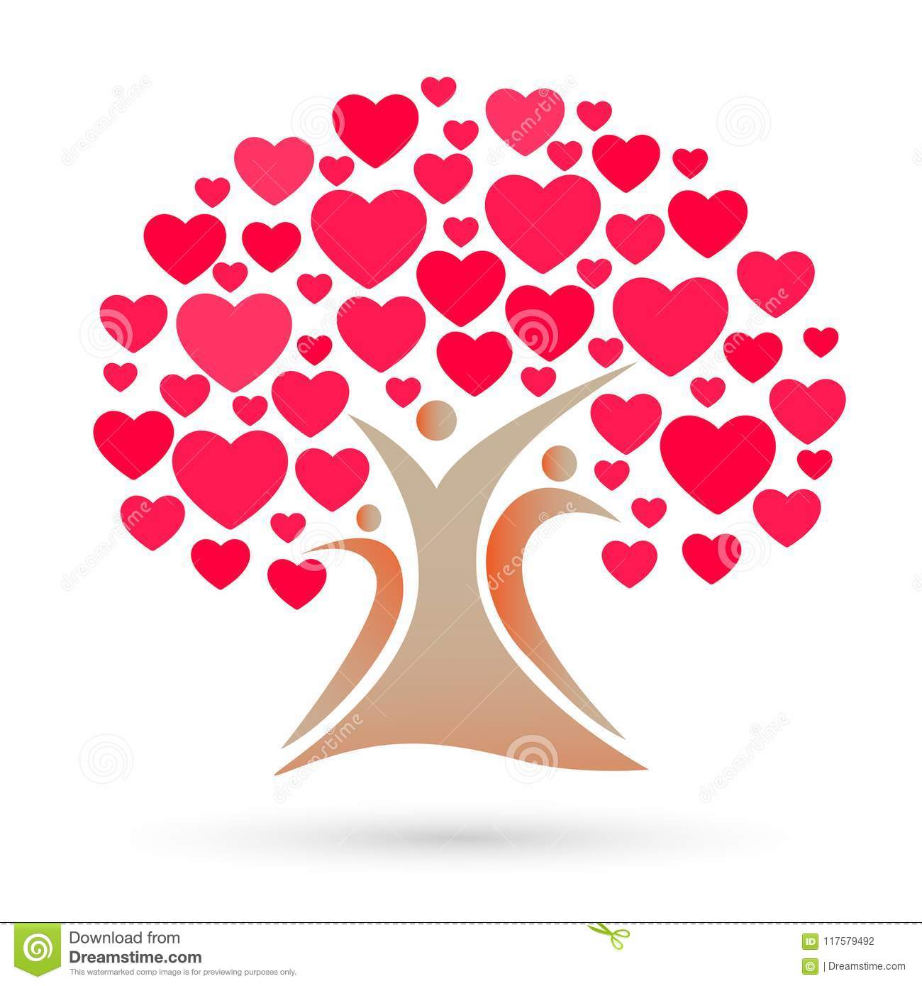 Family tree logo, family, parent, kids, red heart, love, parenting, care, symbol icon design vector