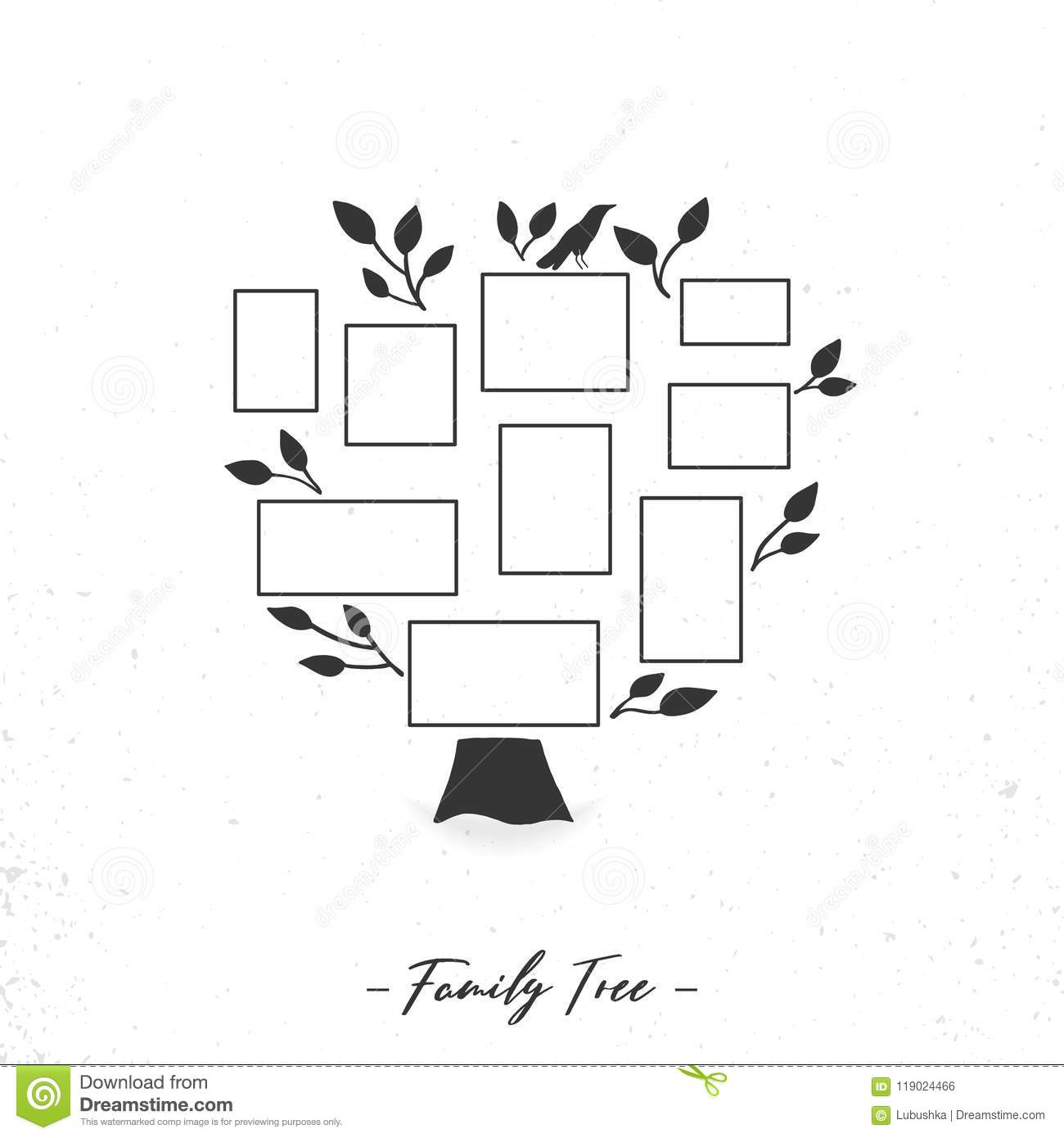 Family Tree With Photo Frames Stock Vector Illustration Of Collage