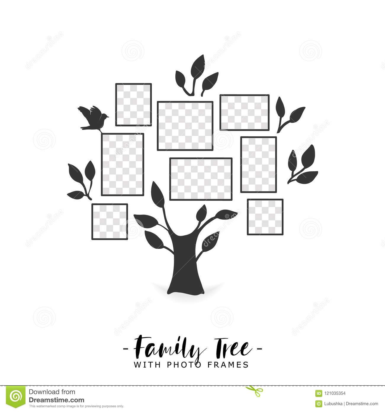 Family Tree With Photo Frames. Stock Vector - Illustration of gift ...