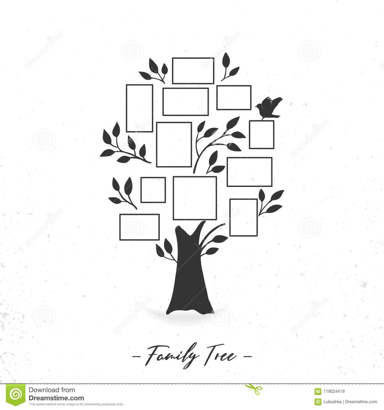 Family Tree With Photo Frames Stock Vector - Illustration of bird ...