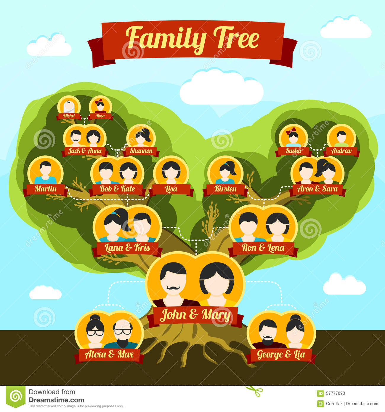 Family Tree With Places For Your Pictures And Stock Vector - Image ...