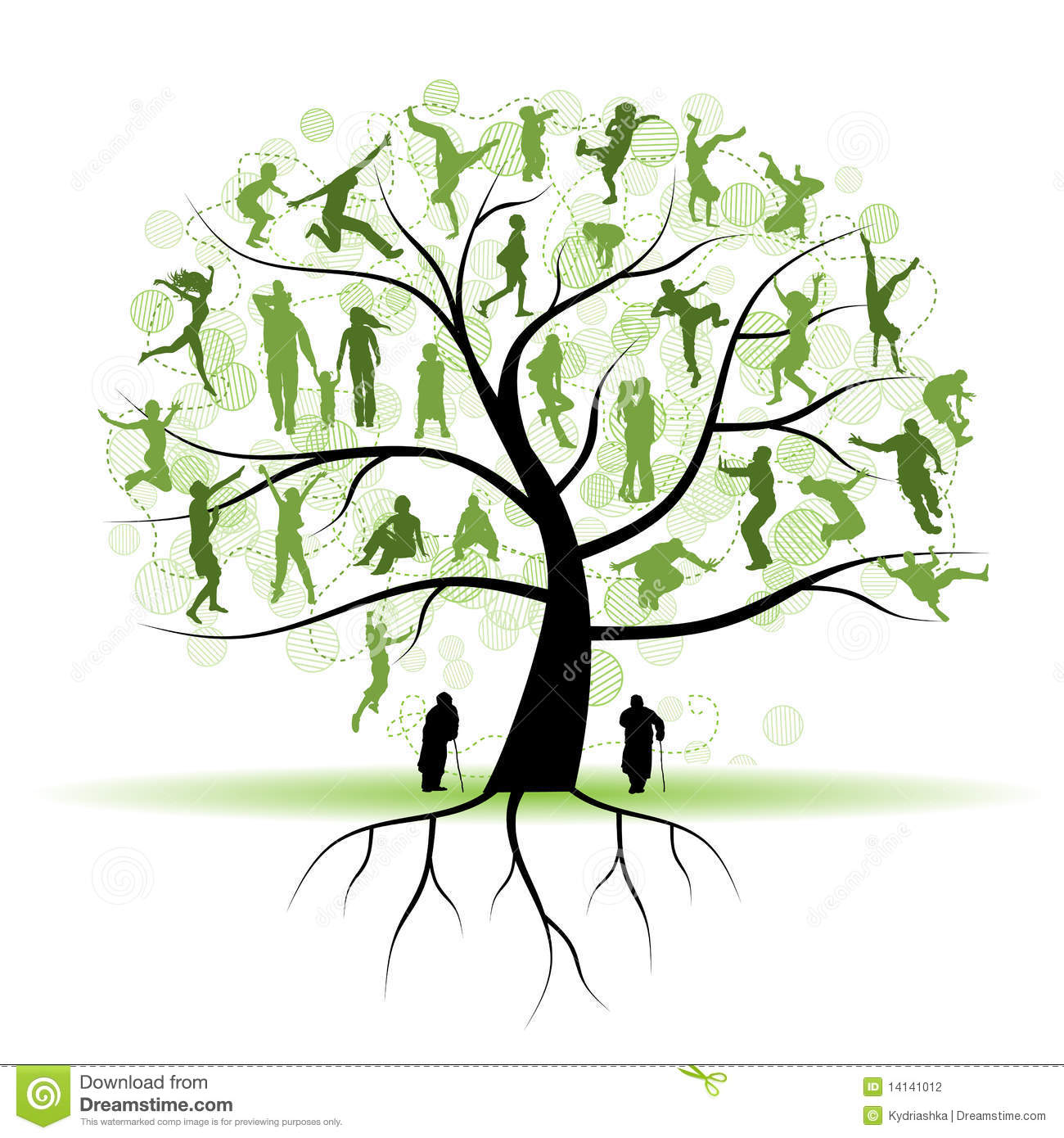 family tree relatives people silhouettes stock vector