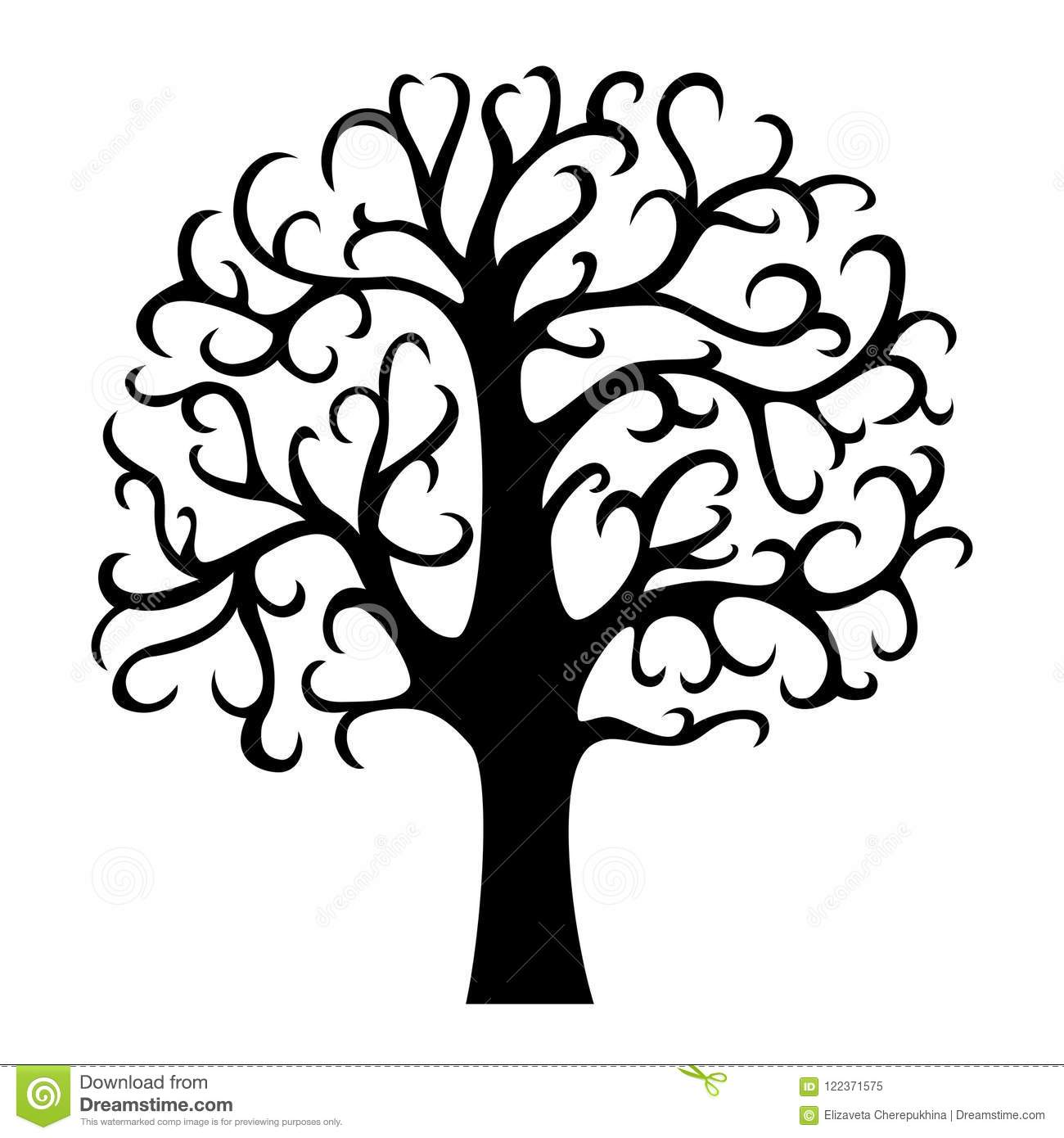 Family tree silhouette. Life tree. Vector illustration isolated