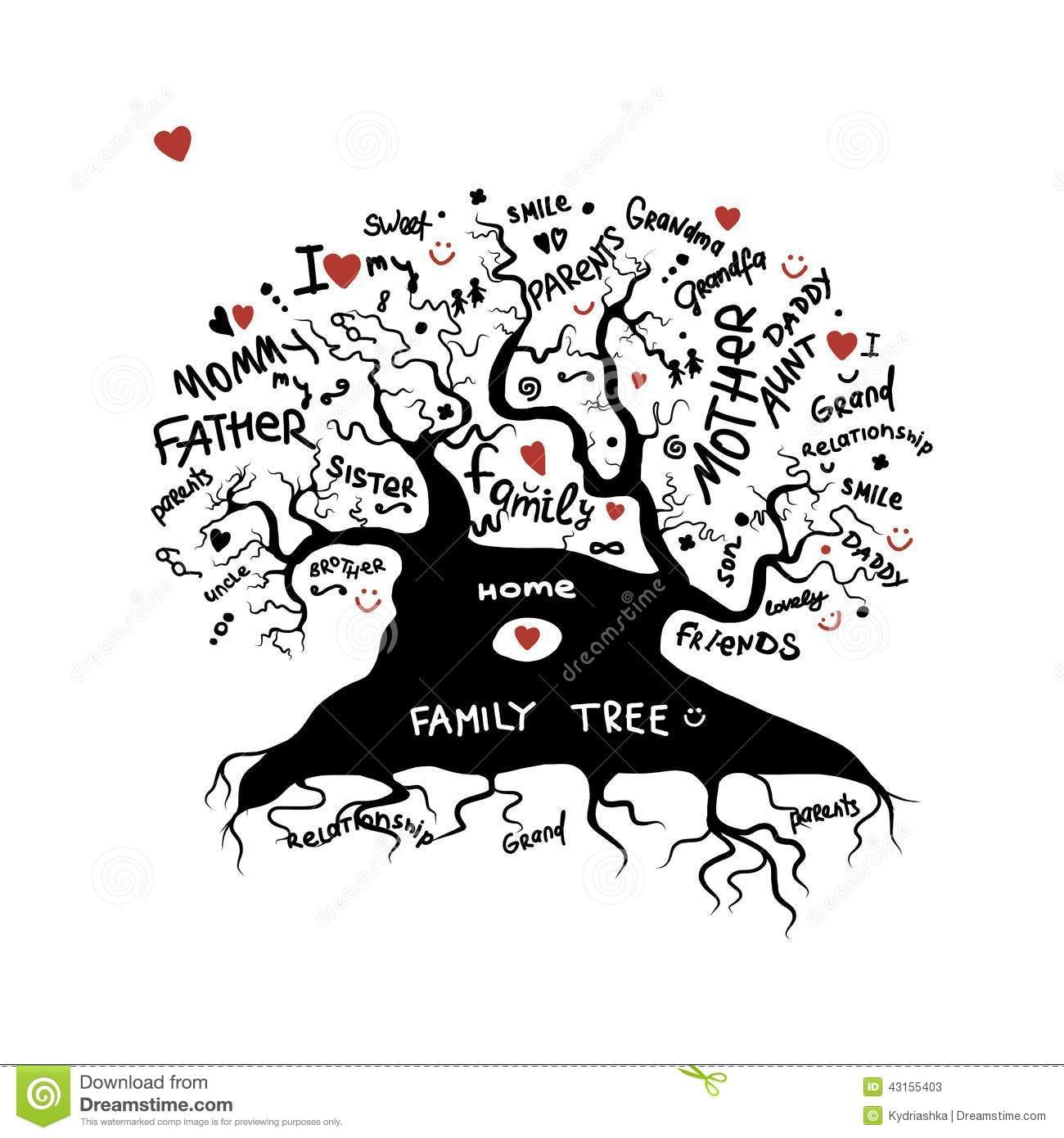 Friends Family Tree: Family Tree Sketch For Your Design Stock Vector