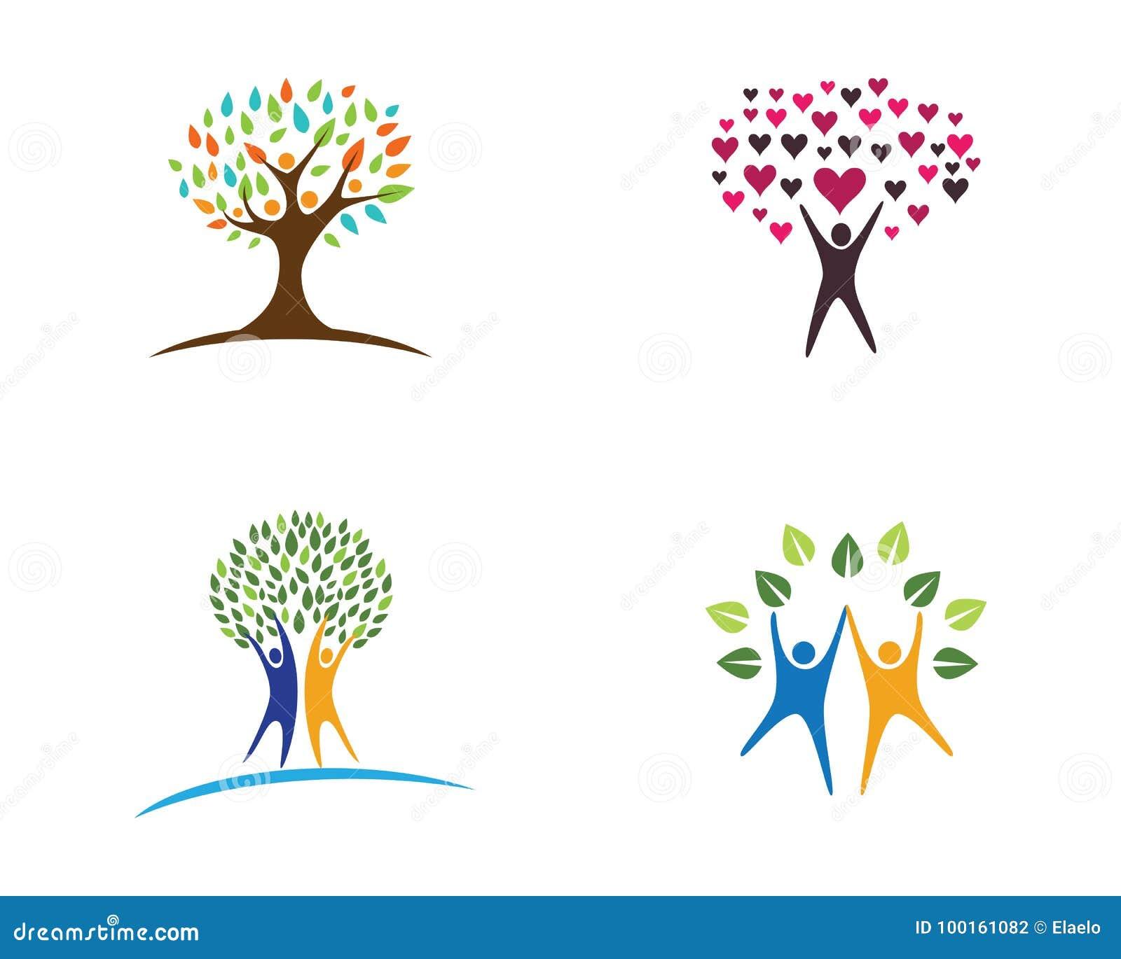 Family Tree Logo Design Template Stock Vector Illustration Of