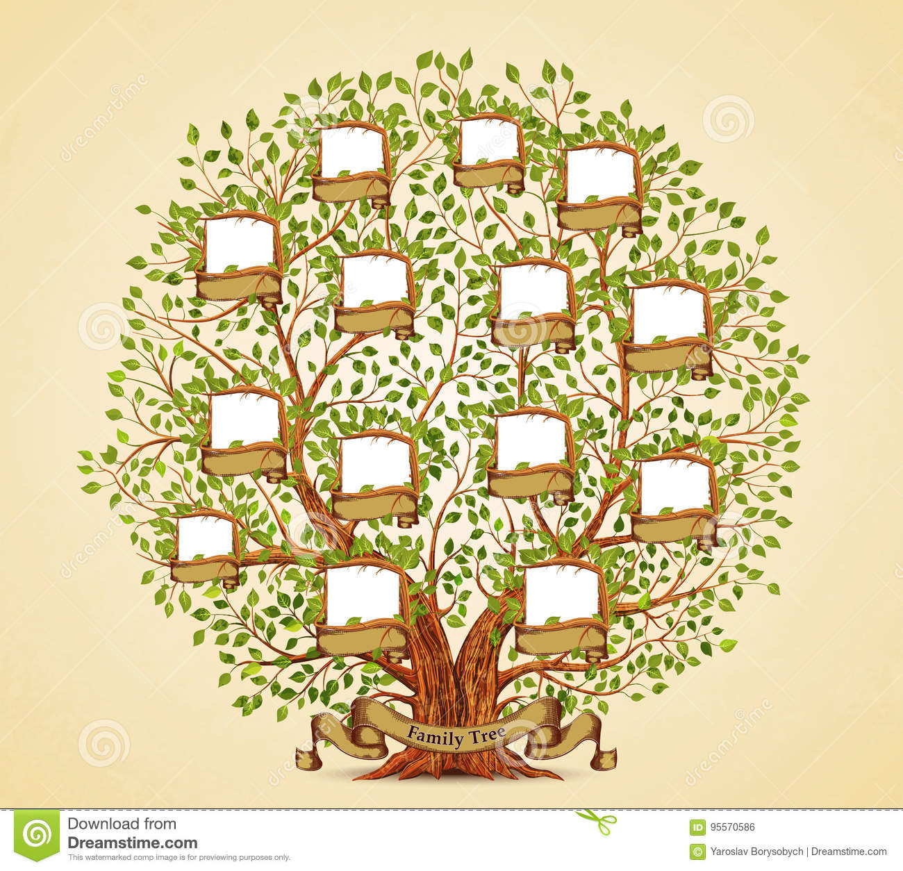 Family tree template vintage vector stock vector for Picture of family tree template