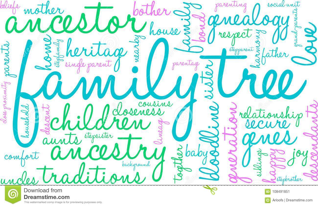 family tree word cloud stock vector illustration of descendants