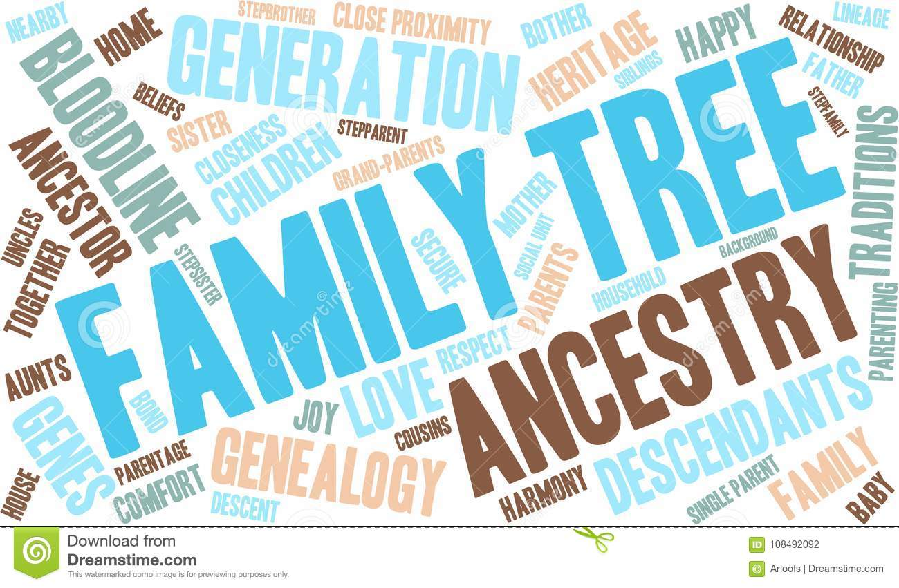 family tree word cloud stock vector illustration of ancestor
