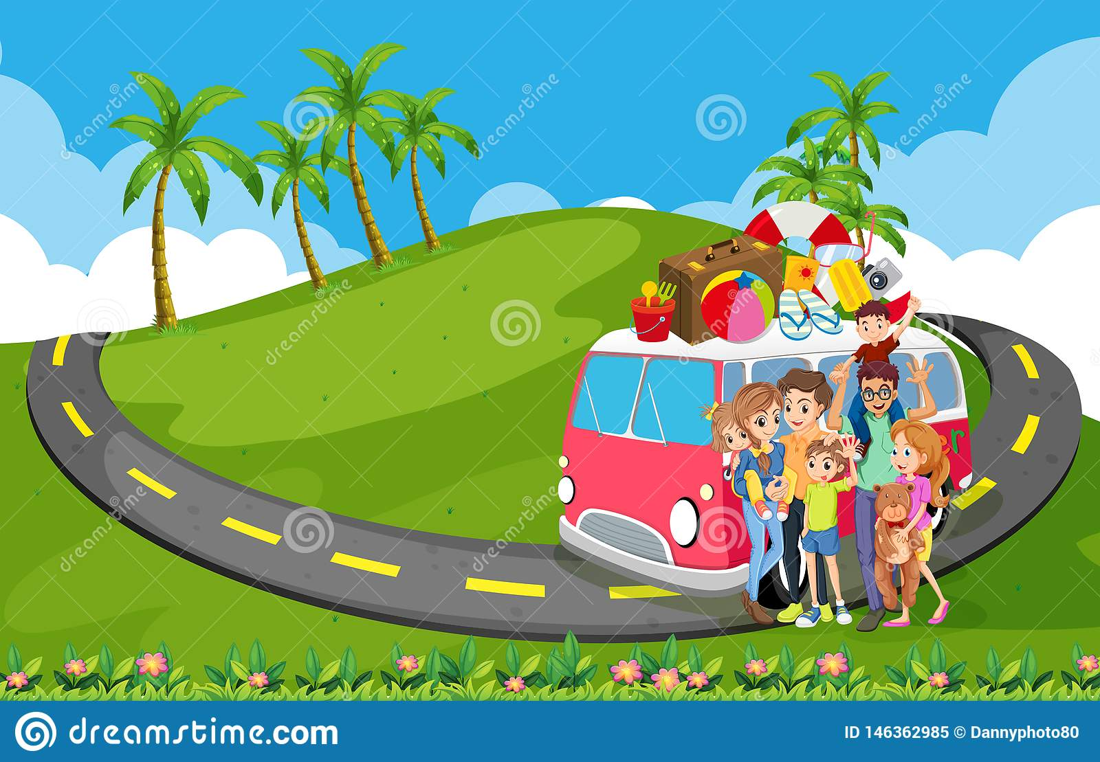 Family Trip To Nature Stock Vector Illustration Of Cartoon 146362985