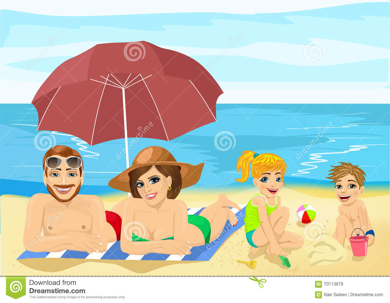 Family At Tropical Beach Sunbathing Relaxing And Playing On Vacation