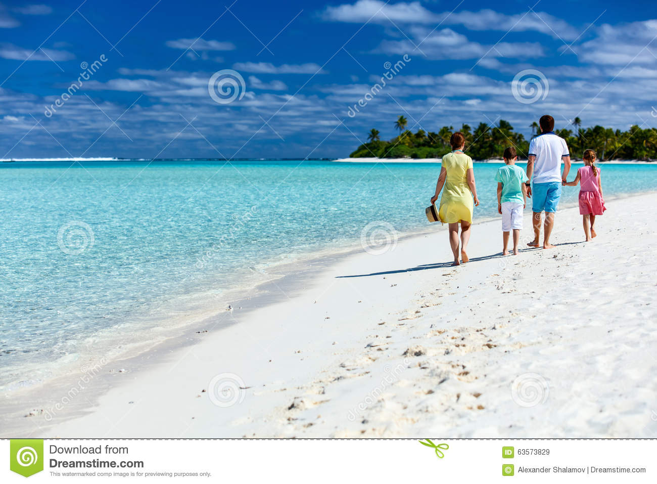 Family on a tropical beach vacation stock image image for Best tropical beach vacations