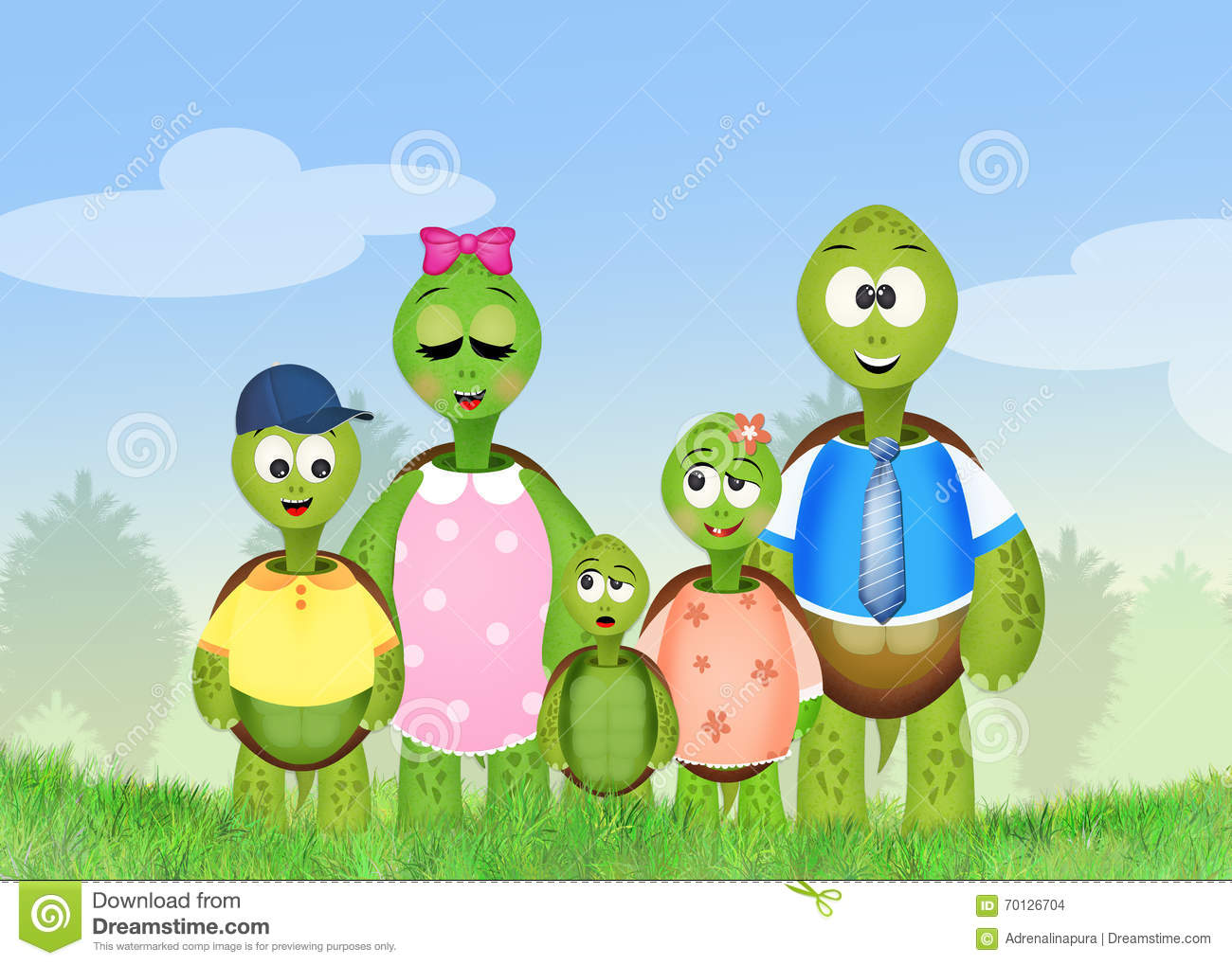 family of turtles stock illustration  image of ties  cartoon