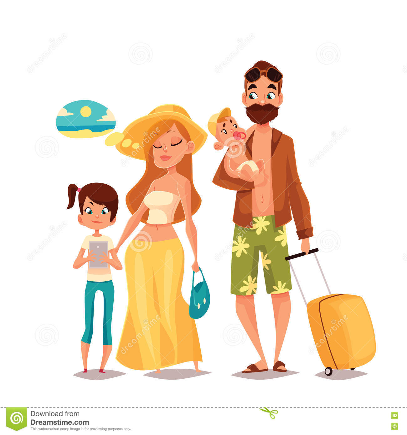 Family With Two Children And Luggage Arrived Vacation Stock Vector