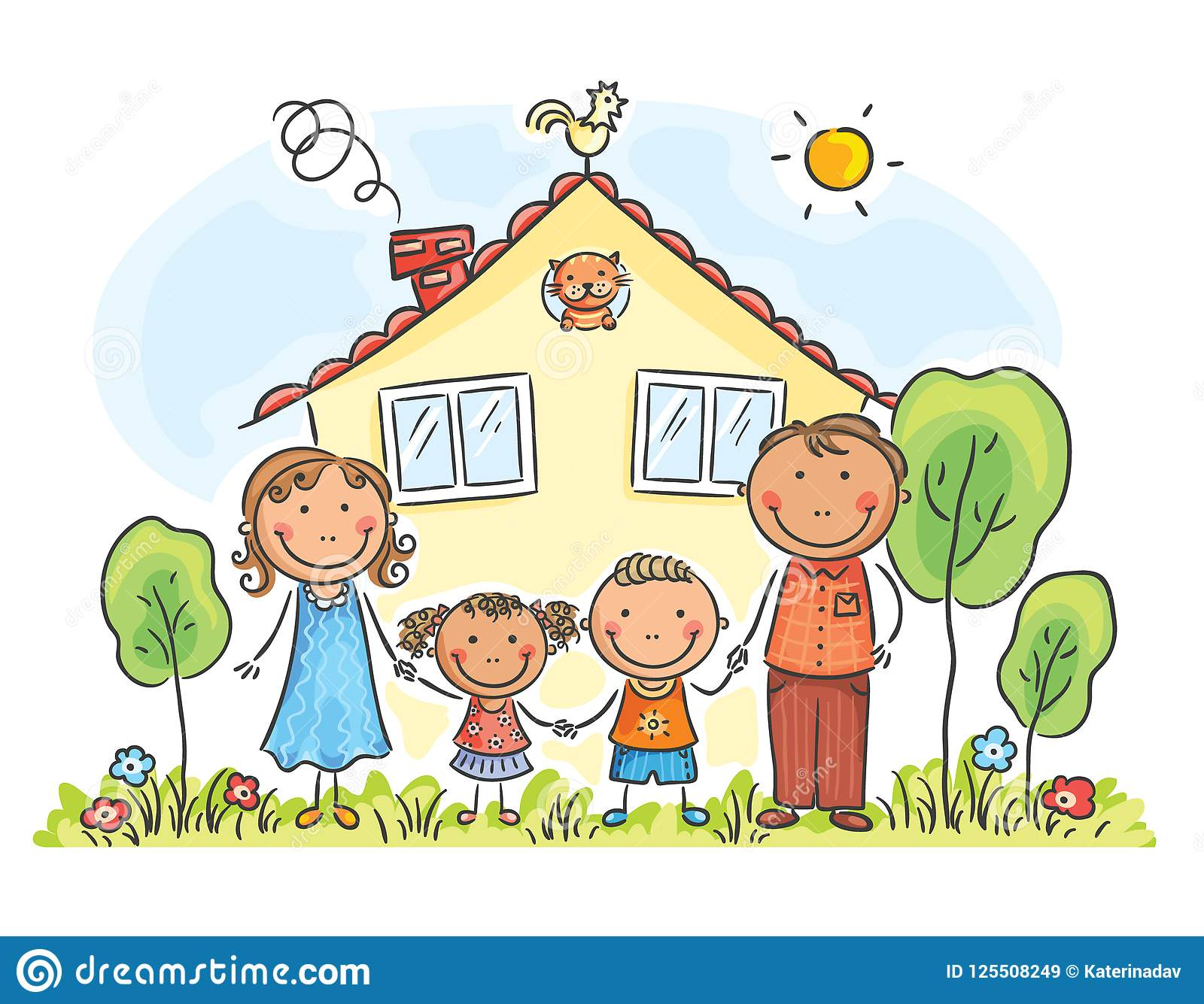 Family with two children near their house, cartoon graphics