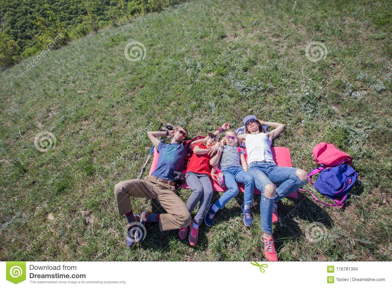 Family in a hike stock photo  Image of camping, kids - 116781304