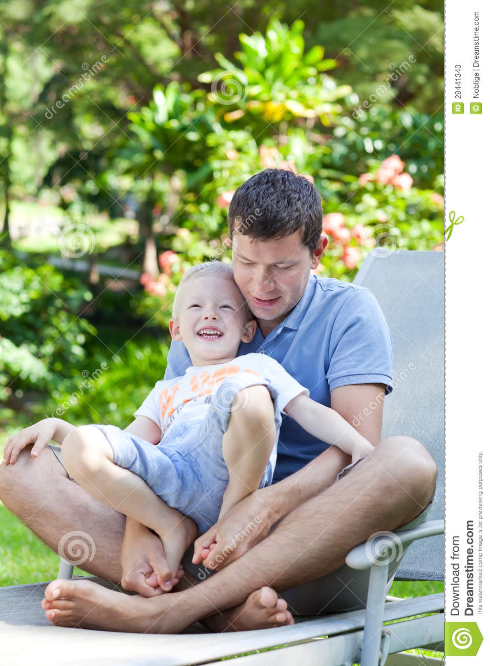 Family Of Two At Hawaii Vacation Stock Image