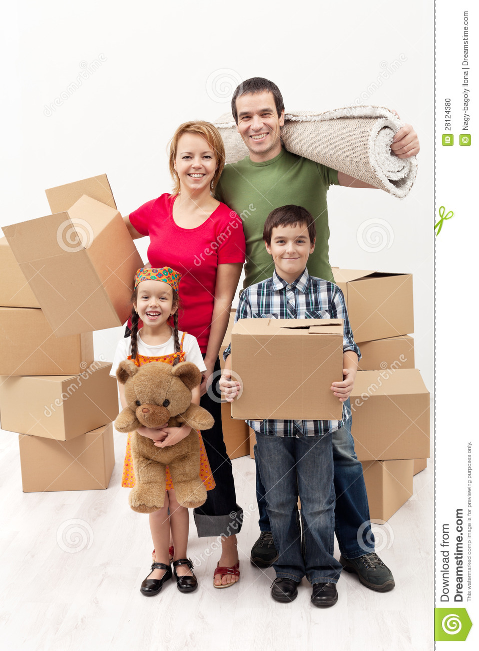 Family with two kids moving to a new house stock photo image 28124380 - Houses for families withchild ...