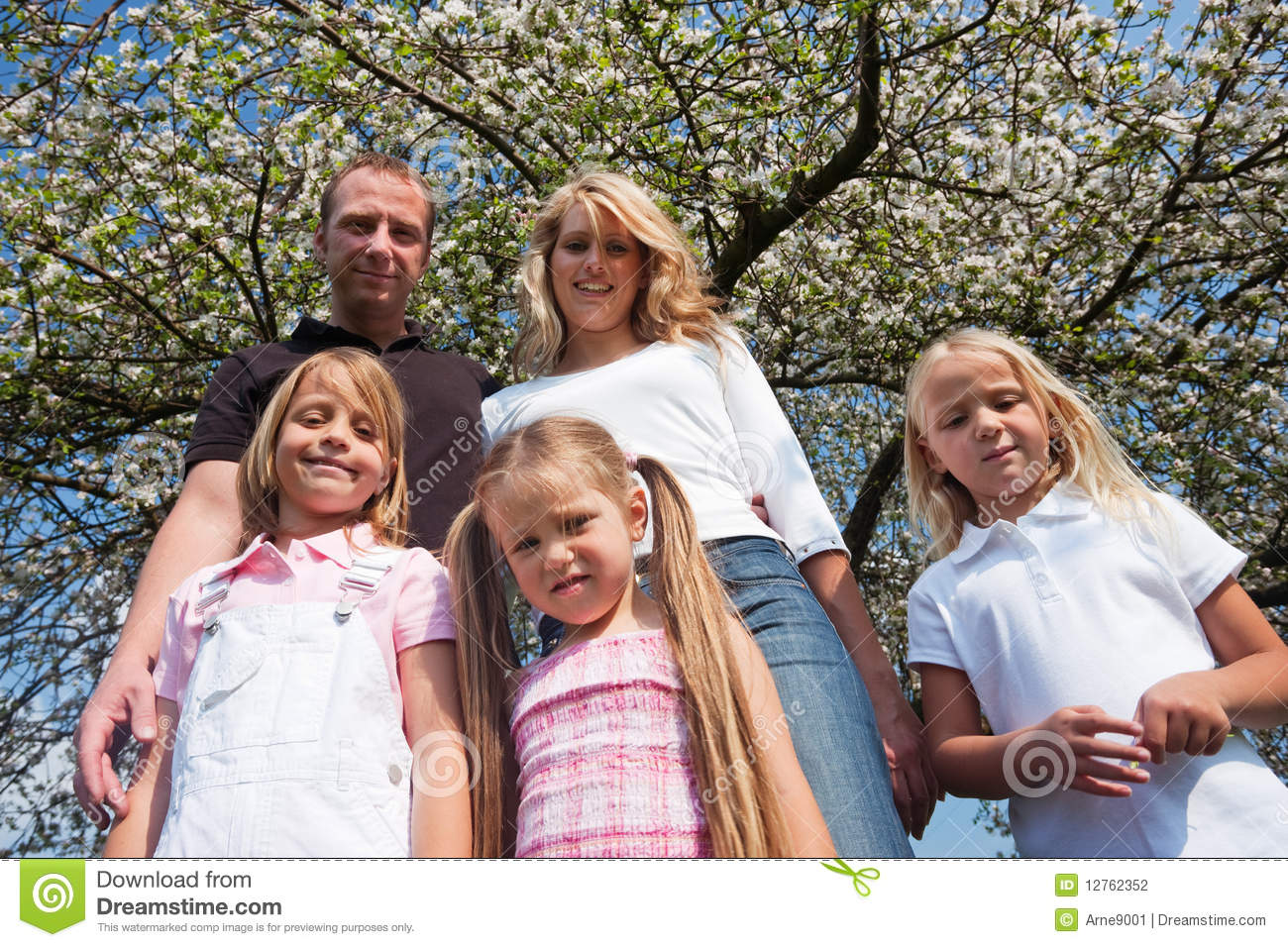 Family Under Apple Tree In Spring Stock Photography ...