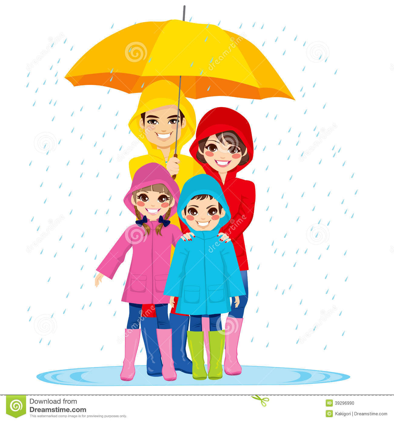 Happy family with raincoats under big umbrella on rainy day.