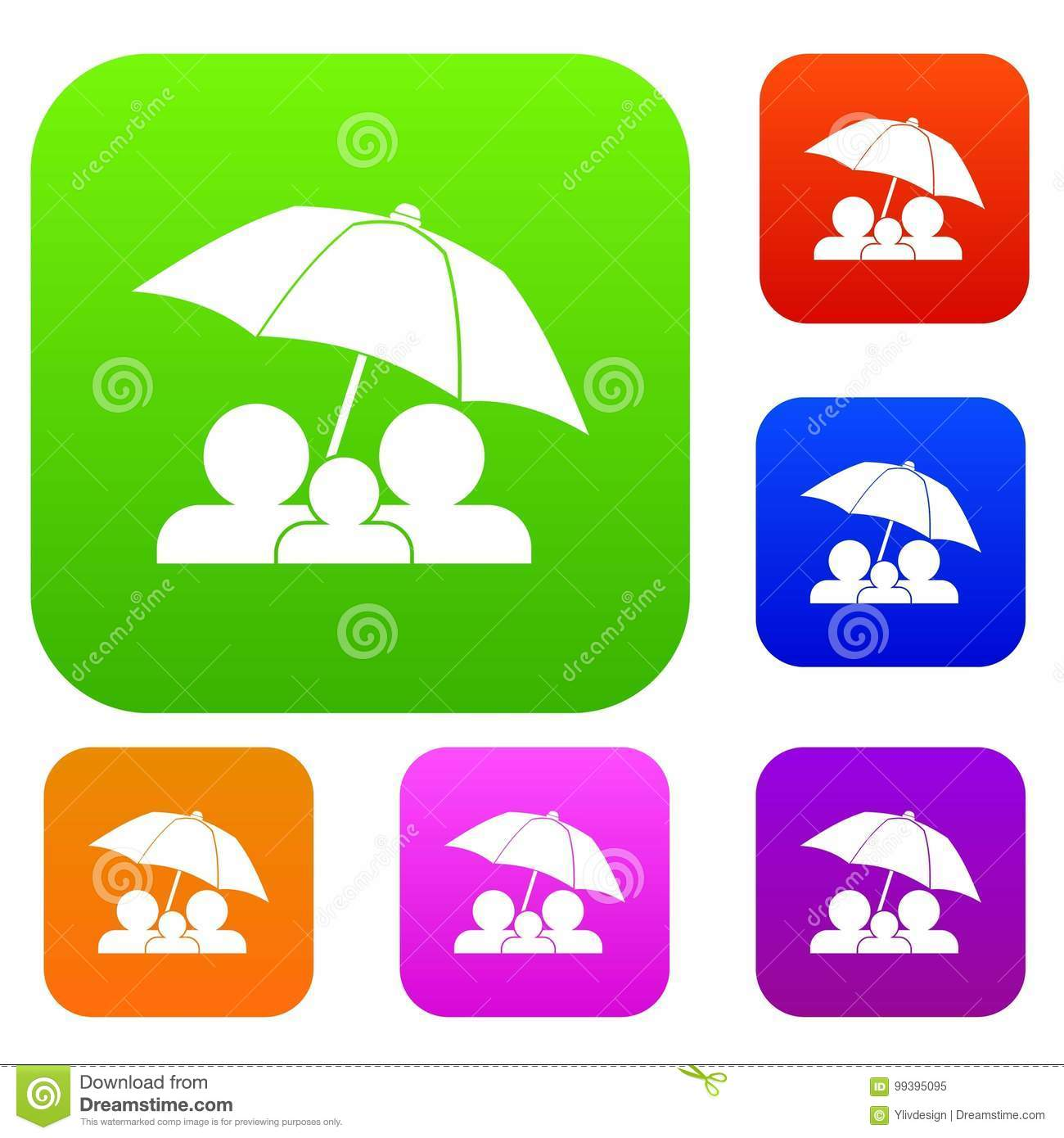 Family Under Umbrella Set Collection Stock Vector - Illustration of ...