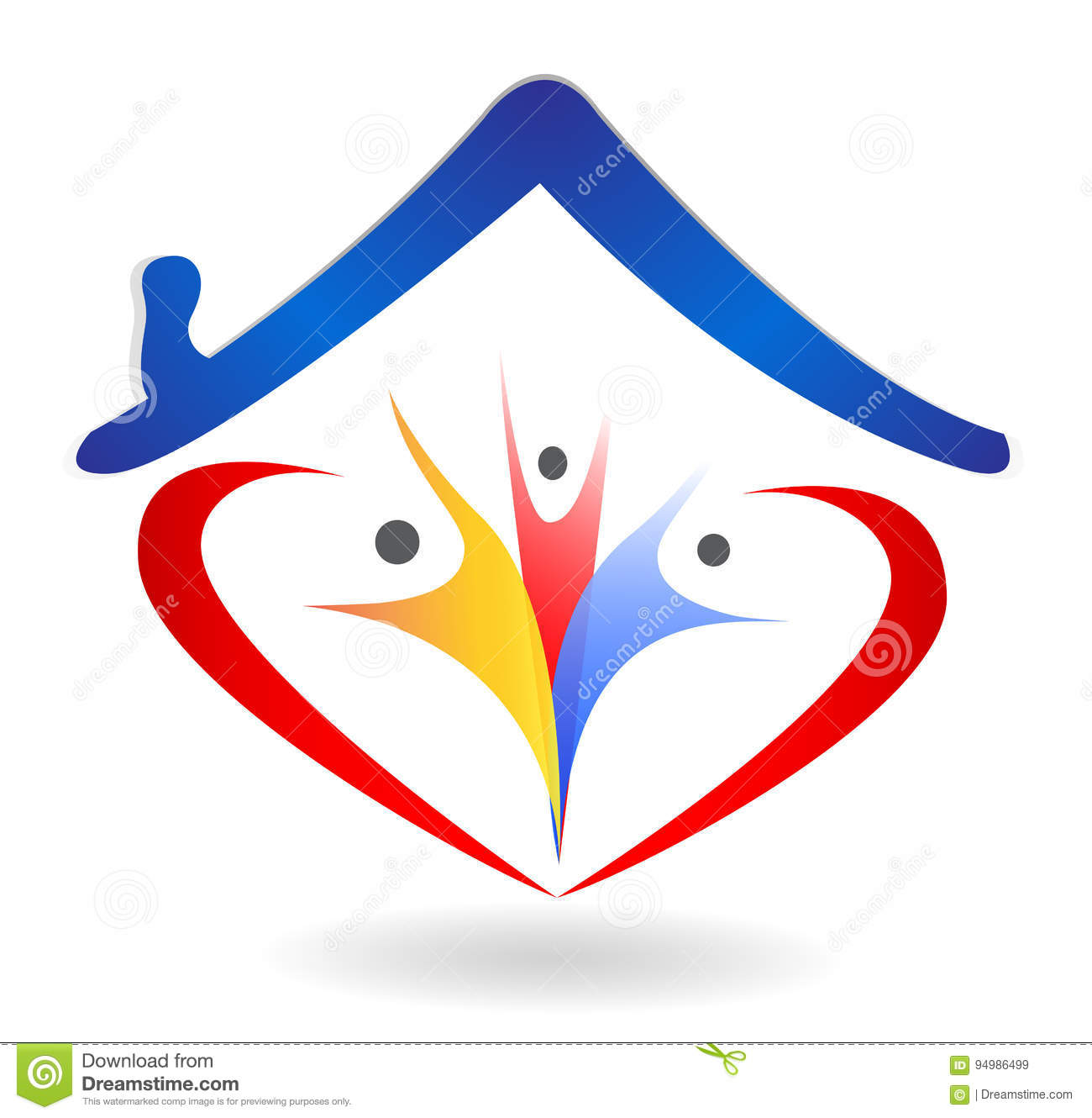 Family Union And Love In Heart Shape House Logo Stock Vector