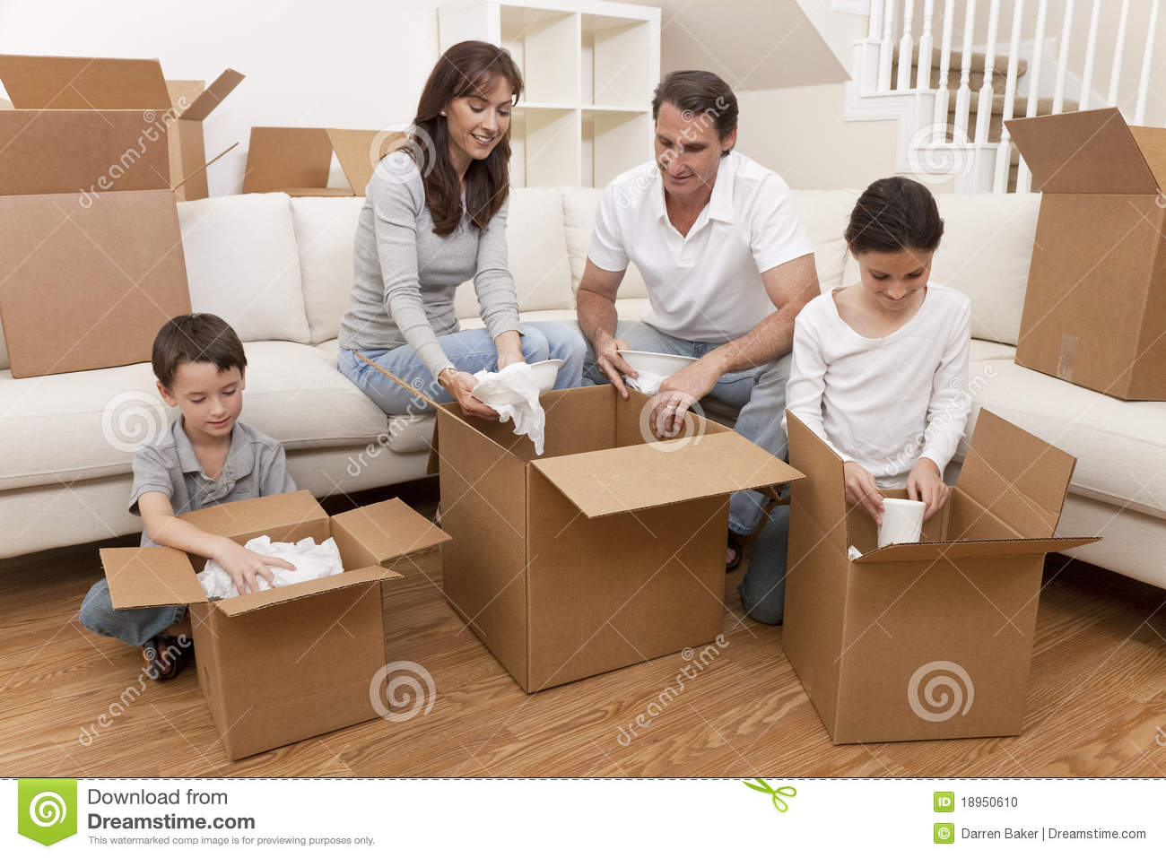 Family Unpacking Boxes Moving House Stock Photo Image