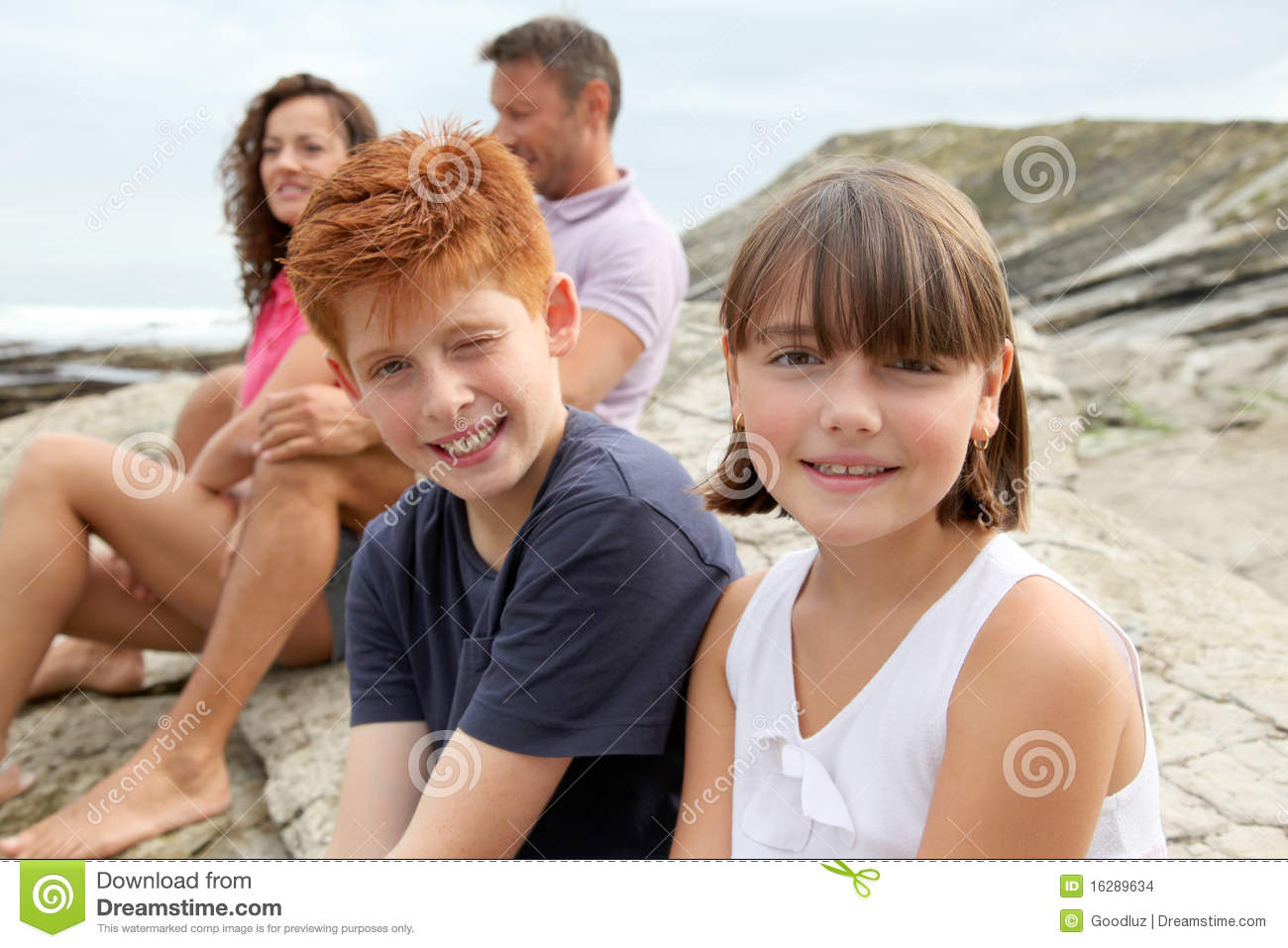 Family Vacation At The Beach Stock Images