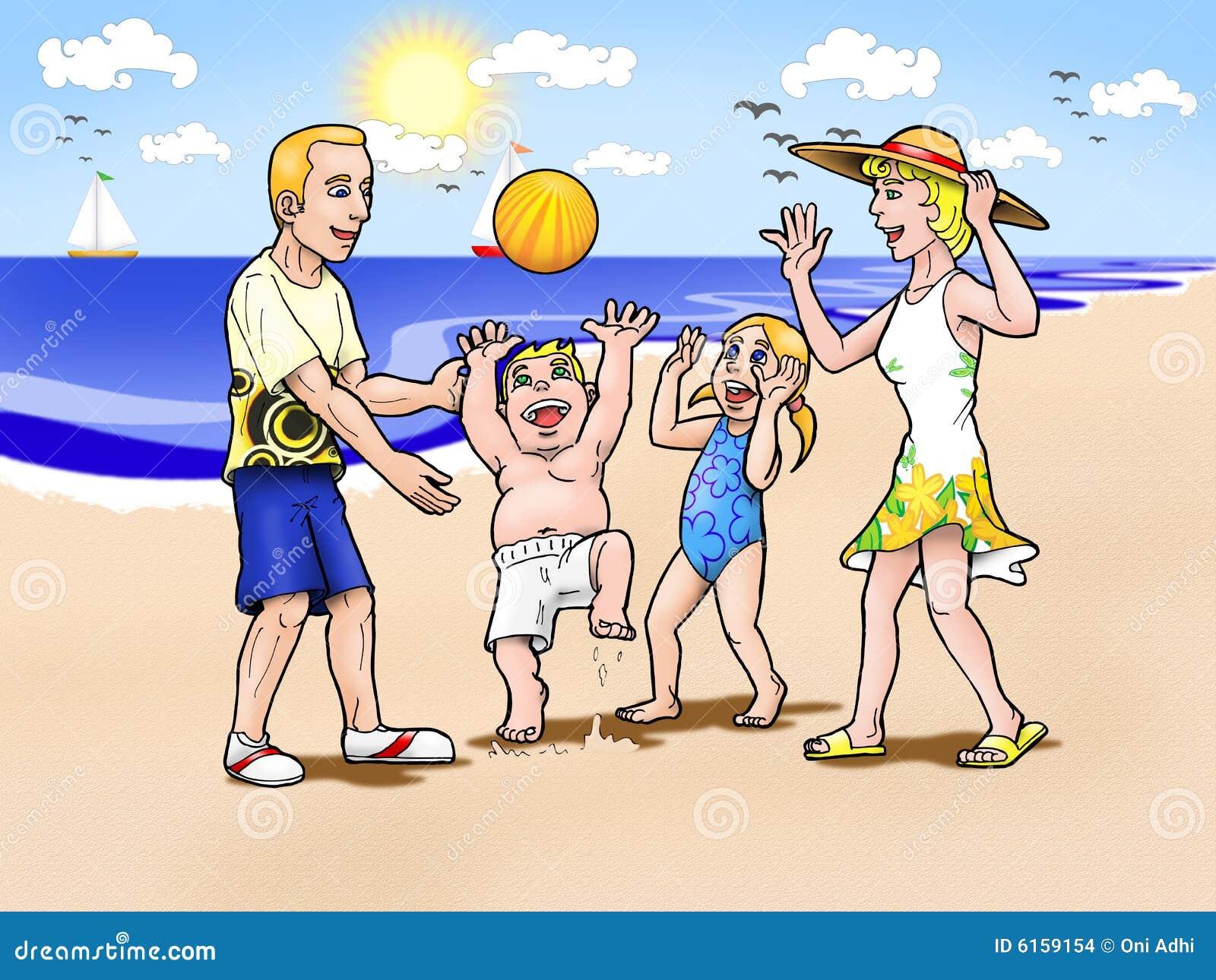 Family vacation on beach